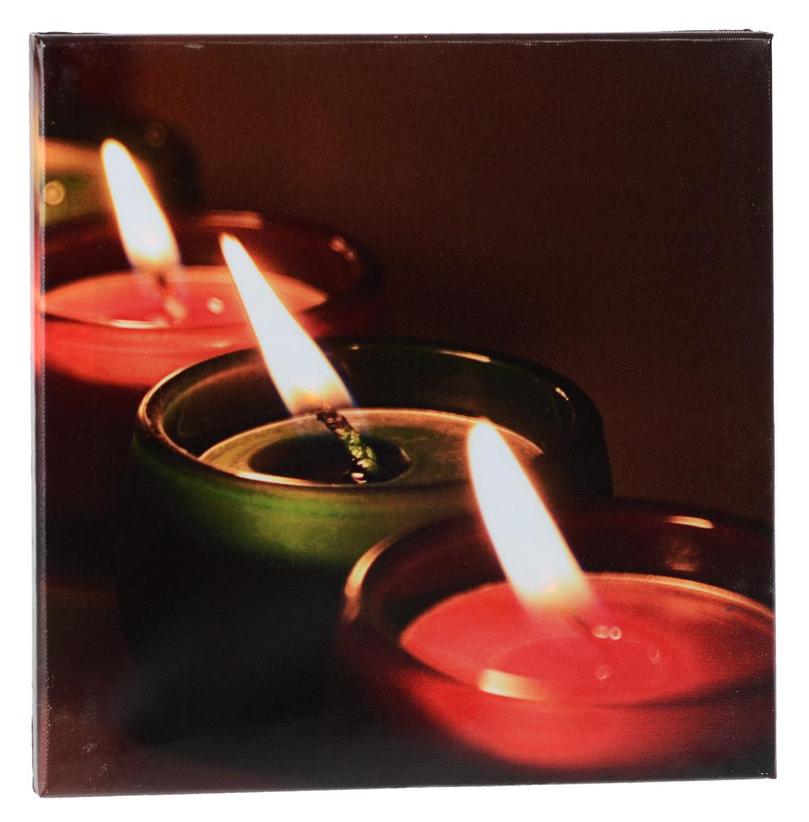 Картина MTH Три свечи, со светодиодами, 30 см х 30 см1204Картина MTH Три свечи выполнена на основе из МДФ, обтянутой холстом.Изделие оснащено светодиодами. Их теплый мерцающий в темноте светоживит ваш дом и добавит ему уюта. На картине изображены 3 декоративные свечи. Благодаря светодиодной подсветке создается ощущение, что теплый свет, исходящий от свечей, действительно может согревать. С оборотной стороны картина оснащена специальным отверстием для подвешивания на стену.Необычная картина придаст интерьеру невероятного шарма и оригинальности.Рисунок успокаивает нервную систему, помогая расслабиться и отвлечься отповседневных забот. Подсветка работает от 2 батареек типа АА напряжением 1,5V (в комплект не входят).