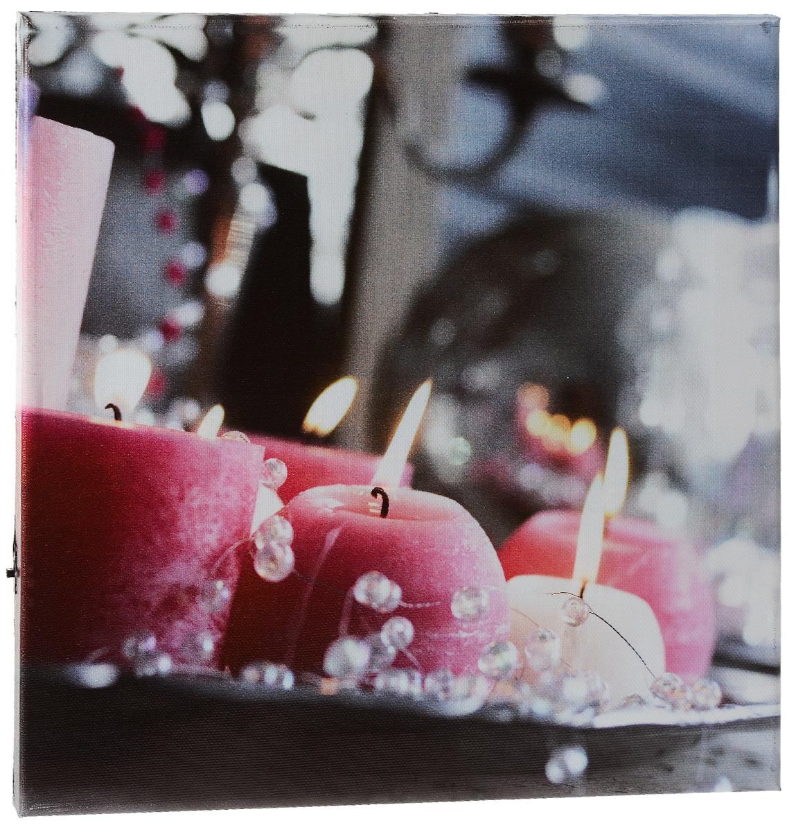 Картина MTH Свечи и бусы, со светодиодами, 30 х 30 см12723Картина MTH Свечи и бусы выполнена на основе из МДФ, обтянутой холстом.Изделие оснащено светодиодами. Их теплый мерцающий в темноте светоживит ваш дом и добавит ему уюта. На картине изображены декоративные свечи с бусами. Благодаря светодиодной подсветке создается ощущение, что теплый свет, исходящий от свечей, действительно может согревать. С оборотной стороны картина оснащена специальным отверстием для подвешивания на стену.Необычная картина придаст интерьеру невероятного шарма и оригинальности.Рисунок успокаивает нервную систему, помогая расслабиться и отвлечься отповседневных забот. Подсветка работает от 2 батареек типа АА напряжением 1,5V (в комплект не входят).