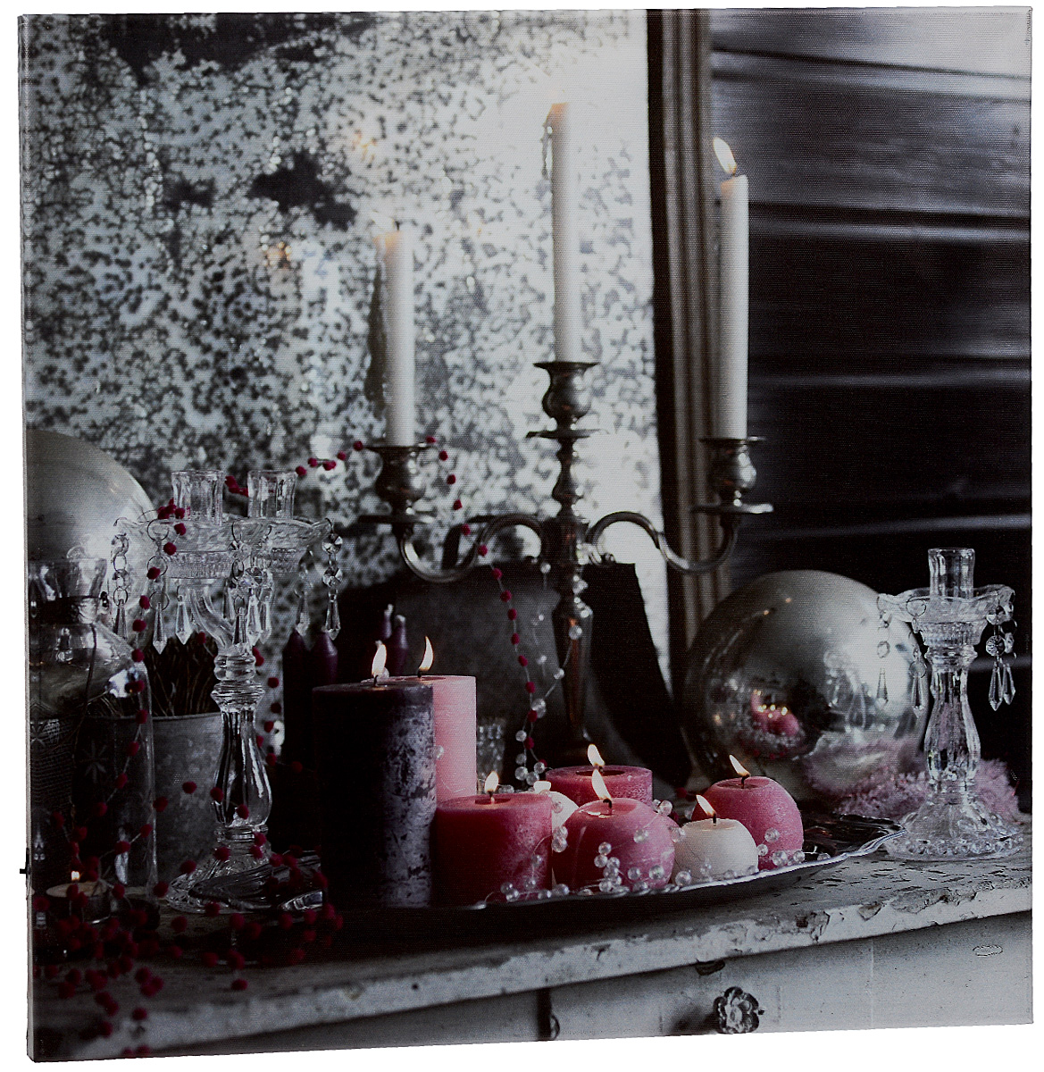 Картина MTH Праздничная декорация, со светодиодами, 50 х 50 см12723Картина MTH Праздничная декорация выполнена на основе из МДФ, обтянутой холстом.Изделие оснащено светодиодами. Их теплый мерцающий в темноте светоживит ваш дом и добавит ему уюта. На картине изображены свечи. Благодаря светодиодной подсветке создается ощущение, что теплый свет, исходящий от свечей, действительно может согревать. С оборотной стороны картина оснащена специальным отверстием для подвешивания на стену.Необычная картина придаст интерьеру невероятного шарма и оригинальности.Рисунок успокаивает нервную систему, помогая расслабиться и отвлечься отповседневных забот. Подсветка работает от 2 батареек типа АА напряжением 1,5V (в комплект не входят).
