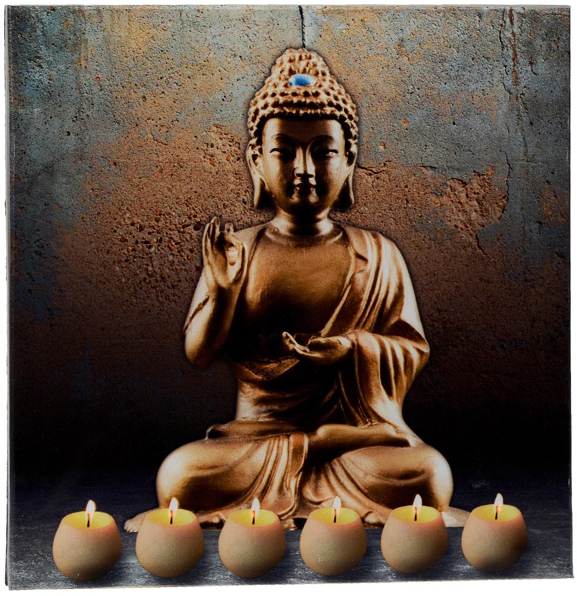Картина MTH Будда, со светодиодами, 40 см х 40 см2-A-289Картина MTH Будда выполнена на основе из МДФ, обтянутой холстом.Изделие оснащено светодиодами. Их теплый мерцающий в темноте светоживит ваш дом и добавит ему уюта. На картине изображен Будда со свечами. Благодаря светодиодной подсветке создается ощущение, что теплый свет, исходящий от свечей, действительно может согревать. С оборотной стороны картина оснащена специальным отверстием для подвешивания на стену.Необычная картина придаст интерьеру невероятного шарма и оригинальности.Рисунок успокаивает нервную систему, помогая расслабиться и отвлечься отповседневных забот. Подсветка работает от 2 батареек типа АА напряжением 1,5V (в комплект не входят).