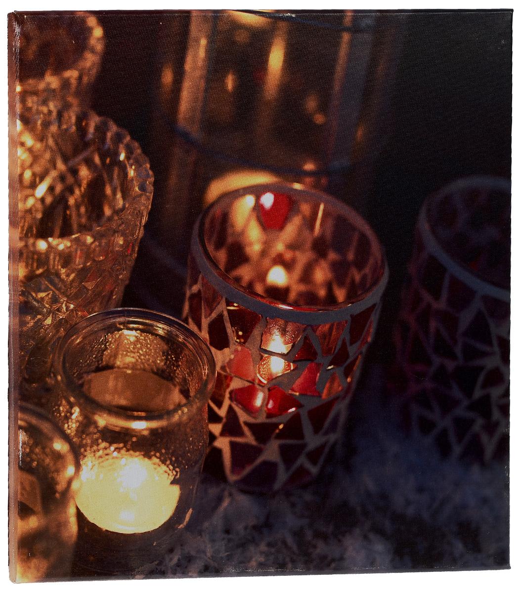 Картина MTH Свечи, со светодиодами, 40 х 40 см1270Картина MTH Свечи выполнена на основе из МДФ, обтянутой холстом.Изделие оснащено светодиодами. Их теплый мерцающий в темноте светоживит ваш дом и добавит ему уюта. На картине изображены свечи в декоративных подсвечниках. Благодаря светодиодной подсветке создается ощущение, что теплый свет, исходящий от свечей, действительно может согревать. С оборотной стороны картина оснащена специальным отверстием для подвешивания на стену.Необычная картина придаст интерьеру невероятного шарма и оригинальности.Рисунок успокаивает нервную систему, помогая расслабиться и отвлечься отповседневных забот. Подсветка работает от 2 батареек типа АА напряжением 1,5V (в комплект не входят).