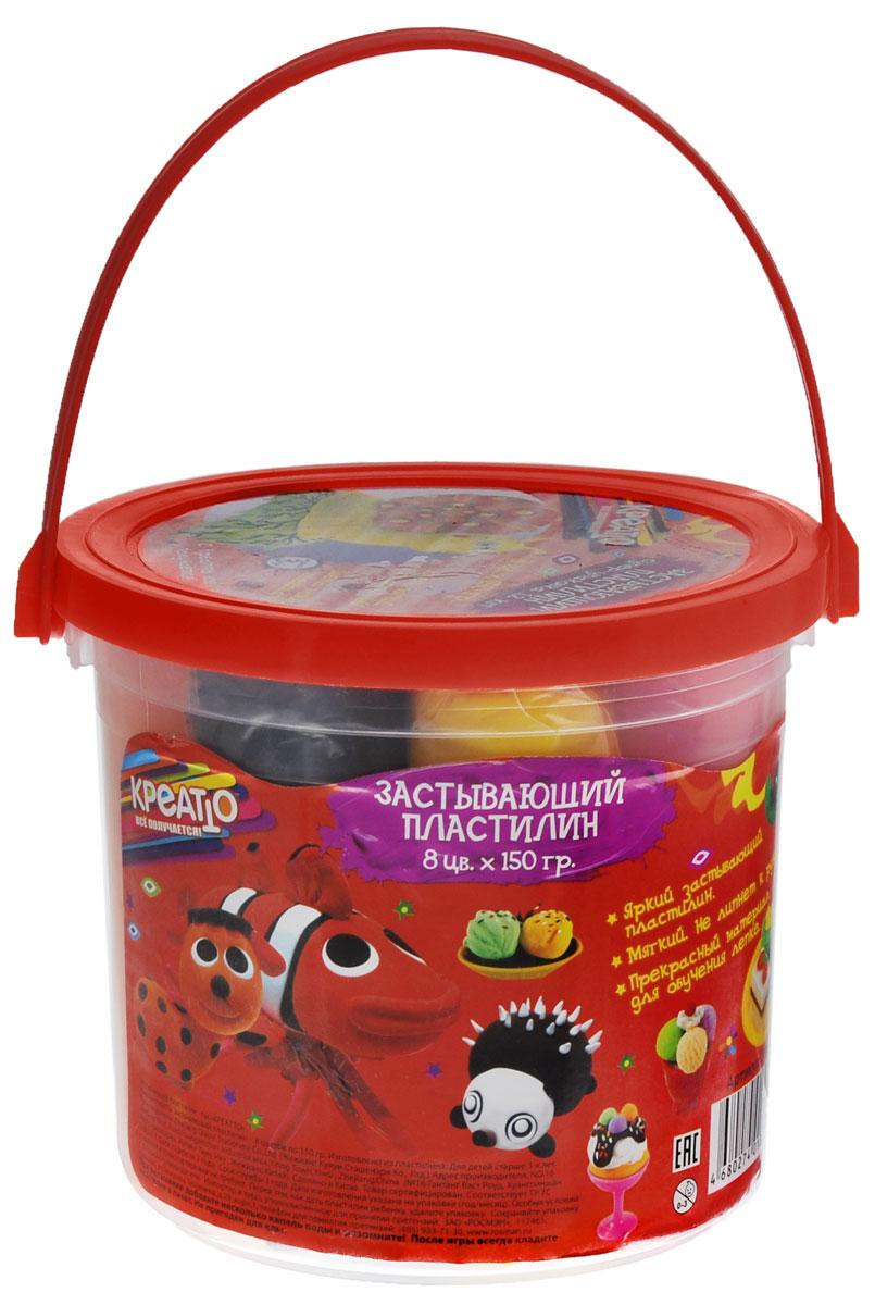 Креатто Пластилин застывающий 8 цветов12С 863-08Лепить из пластилина Креатто легко и просто даже малышам, ведь он оптимально подходит для детских пальчиков. Он мягкий, податливый, приятный на ощупь - его не нужно дополнительно греть и разминать. А его большое количество (1200 г) просто идеально для уроков лепки.Создавайте самые разные фигурки, смешивайте цвета и получайте новые оттенки, фантазируйте, тренируйте пальчики малыша, развивайте его цветовосприятие и воображение. А затем оставьте поделки на воздухе на несколько часов: когда они засохнут, с ними можно будет играть, как с настоящими игрушками! А если вы хотите использовать пластилин повторно, то сразу после лепки, не дожидаясь высыхания, убирайте его в баночку с крышкой.В наборе 8 ярких цветов застывающего пластилина по 150 г (1200 г) в удобном ведерке с ручкой и крышкой.