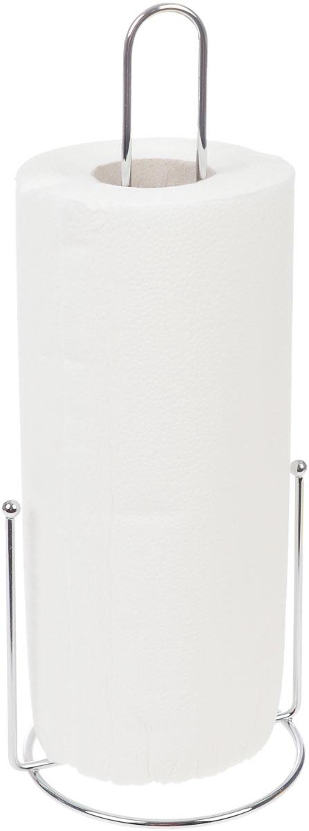 Держатель для бумажных полотенец KesperVT-1520(SR)Держатель для бумажных полотенец Kesper изготовлен из металла с хромированной поверхностью. Круглое основание обеспечивает устойчивость подставки. Вы можете установить ее в любом удобном месте. Держатель подходит для всех видов кухонных полотенец.Такой держатель для бумажных полотенец станет полезным аксессуаром в домашнем быту и идеально впишется в интерьер современной кухни.В комплекте с держателем - рулон бумажных полотенец для рук.Диаметр основания держателя: 12 см.Высота держателя: 33 см.