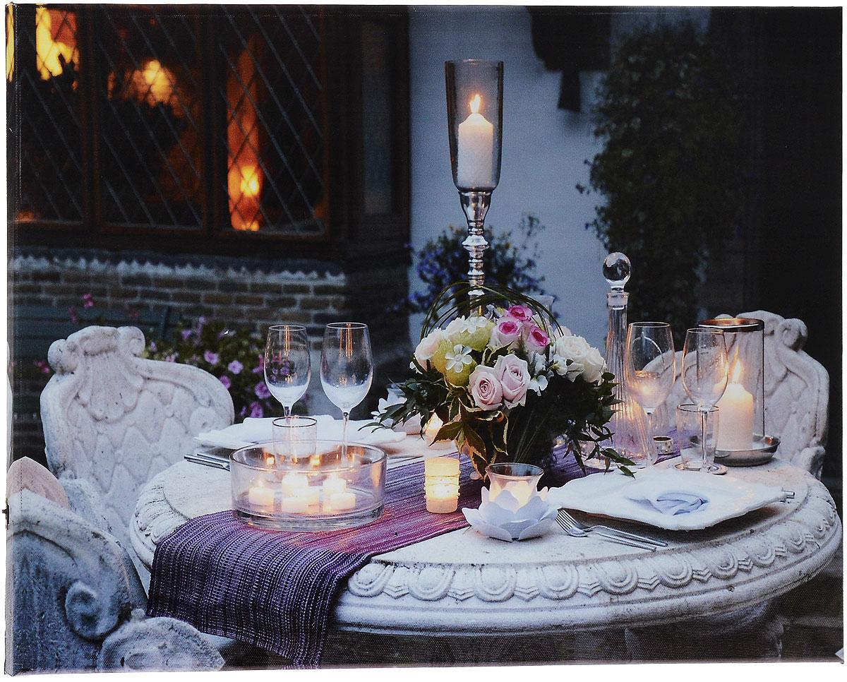 Картина MTH Праздничный стол, со светодиодами, 40 х 60 см25051 7_желтыйКартина MTH Праздничный стол выполнена на основе из МДФ, обтянутой холстом.Изделие оснащено светодиодами. Их теплый мерцающий в темноте светоживит ваш дом и добавит ему уюта. На картине изображен накрытый стол с цветами и свечами. Благодаря светодиодной подсветке создается ощущение, что теплый свет, исходящий от свечей, действительно может согревать. С оборотной стороны картина оснащена специальным отверстием для подвешивания на стену.Необычная картина придаст интерьеру невероятного шарма и оригинальности.Рисунок успокаивает нервную систему, помогая расслабиться и отвлечься отповседневных забот. Подсветка работает от 2 батареек типа АА напряжением 1,5V (в комплект не входят).