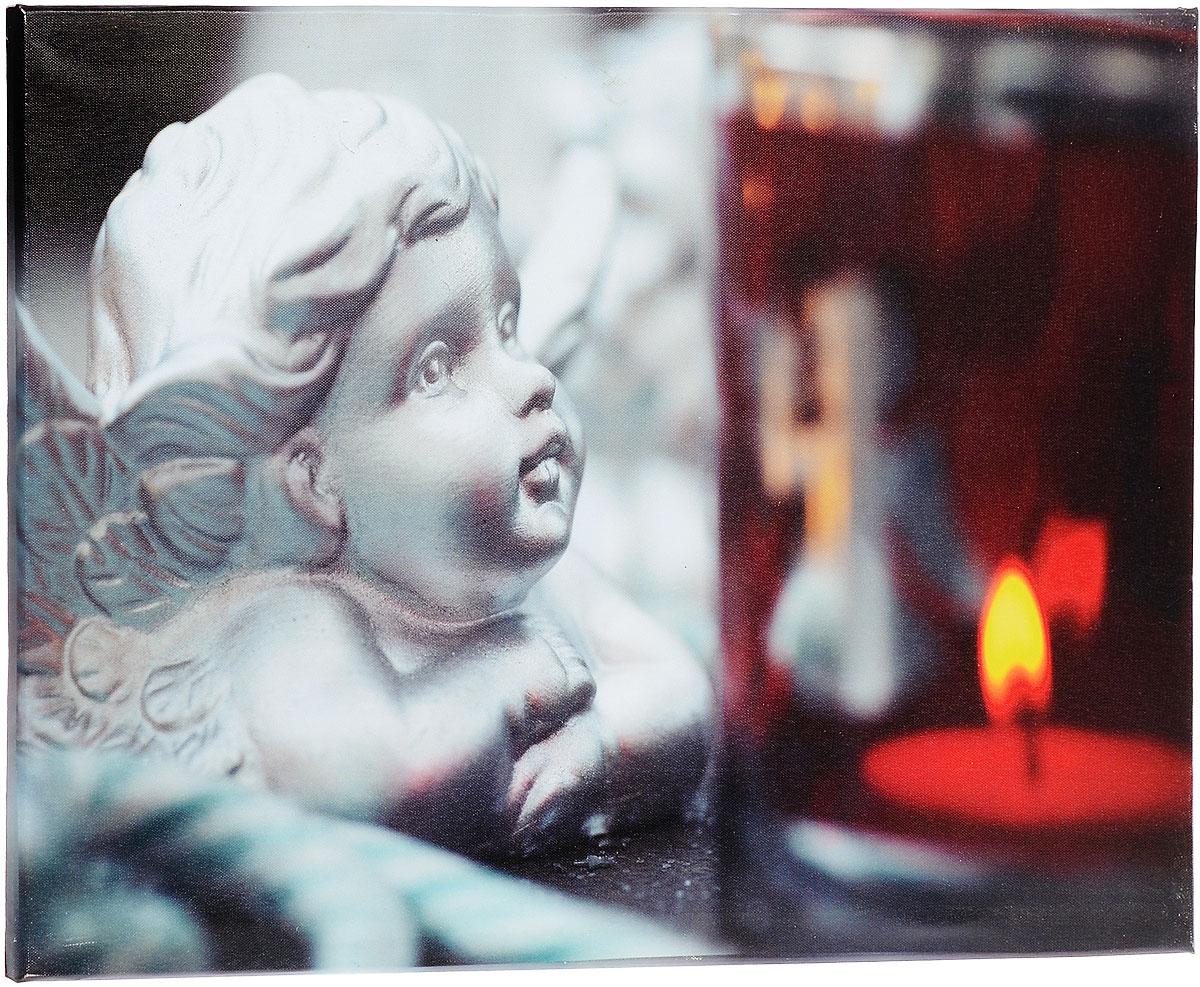 Картина MTH Ангел, со светодиодами, 40 см х 60 смRG-D31SКартина MTH Ангел выполнена на основе из МДФ, обтянутой холстом.Изделие оснащено светодиодами. Их теплый мерцающий в темноте светоживит ваш дом и добавит ему уюта. На картине изображен ангел, смотрящий на свечу. Благодаря светодиодной подсветке создается ощущение, что теплый свет, исходящий от свечи, действительно может согревать. С оборотной стороны картина оснащена специальным отверстием для подвешивания на стену.Необычная картина придаст интерьеру невероятного шарма и оригинальности.Рисунок успокаивает нервную систему, помогая расслабиться и отвлечься отповседневных забот. Подсветка работает от 2 батареек типа АА напряжением 1,5V (в комплект не входят).