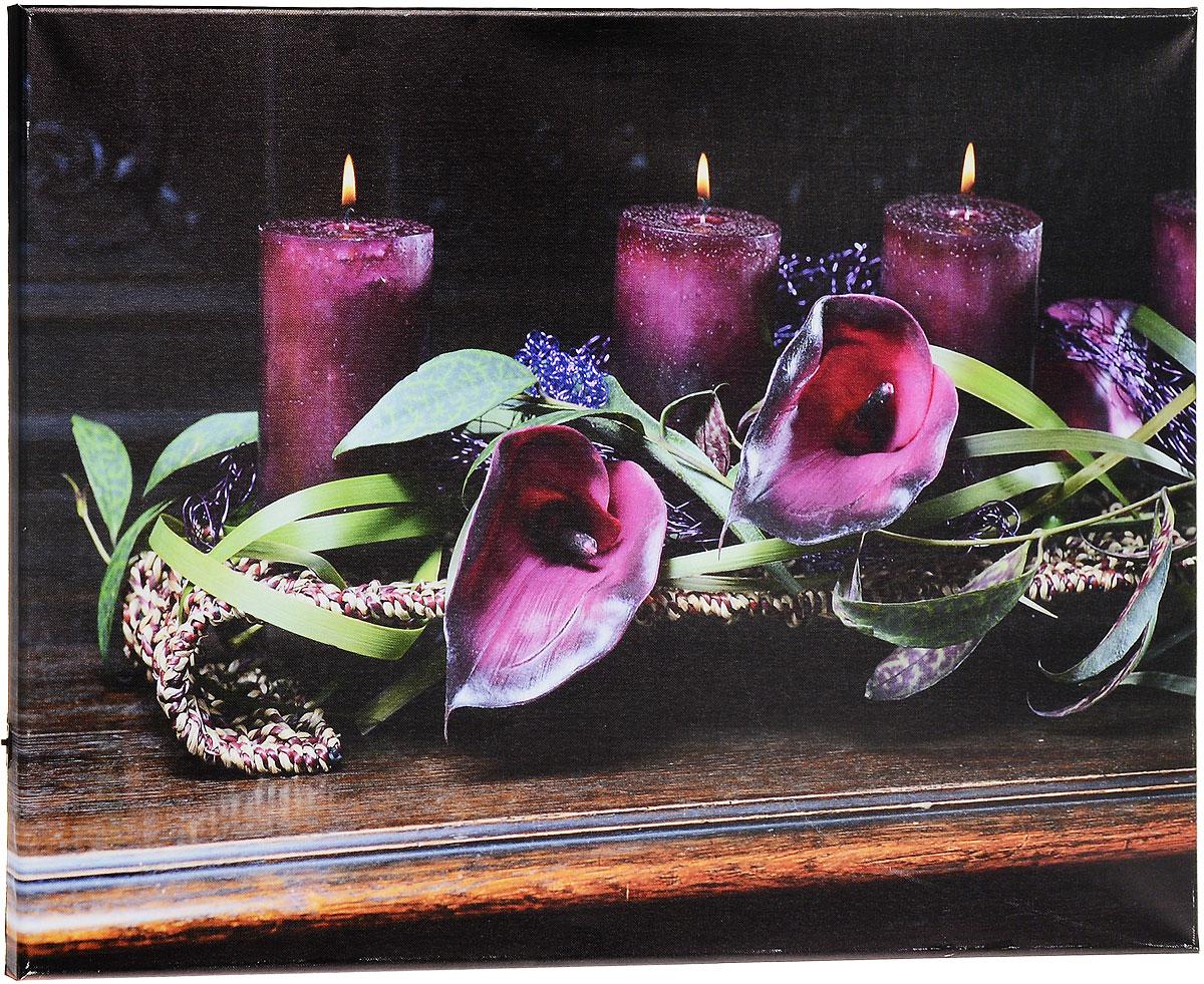 Картина MTH Свечи и цветы, со светодиодами, 40 х 60 смAL-022Картина MTH Свечи и цветы выполнена на основе из МДФ, обтянутой холстом.Изделие оснащено светодиодами. Их теплый мерцающий в темноте светоживит ваш дом и добавит ему уюта. На картине изображены свечи и каллы. Благодаря светодиодной подсветке создается ощущение, что теплый свет, исходящий от свечей, действительно может согревать. С оборотной стороны картина оснащена специальным отверстием для подвешивания на стену.Необычная картина придаст интерьеру невероятного шарма и оригинальности.Рисунок успокаивает нервную систему, помогая расслабиться и отвлечься отповседневных забот. Подсветка работает от 2 батареек типа АА напряжением 1,5V (в комплект не входят).