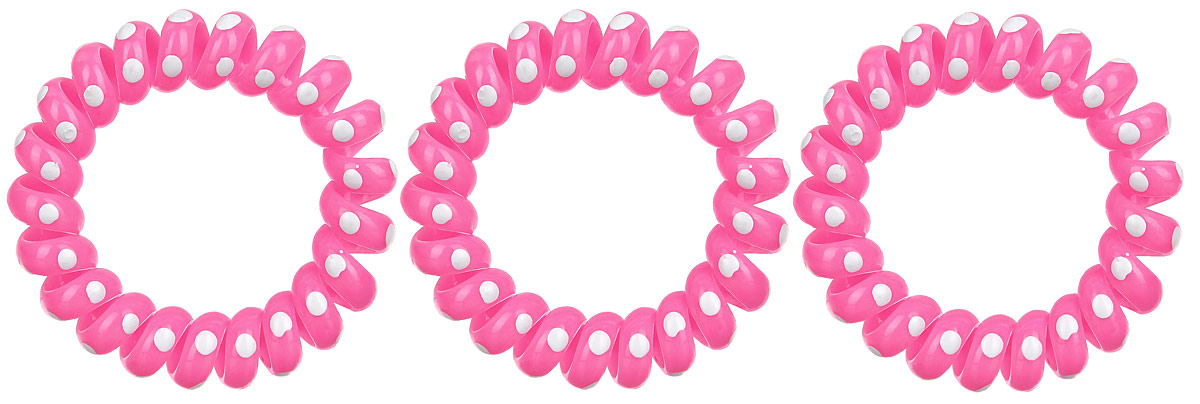 Резинка-браслет для волос Mitya Veselkov, цвет: розовый, 3 шт. REZ2UN 1861Яркие резинки-браслеты Mitya Veselkov выполнены из качественного ПВХ и оформлены узором в горошек. Столь необычная форма резинок дает множество преимуществ. Резинка не оставляет заломов на волосах. При длительном ношении, снимая ее, вы не почувствуете усталость волос.Оригинально смотрится на волосах. Отлично сохраняет свою форму и надежно фиксирует прическу. Не мокнет. Не травмирует волосы. В отличие от обычных резинок, нет трения, зажимов отдельных волосков или прядей.Также их можно использовать как стильные браслеты.
