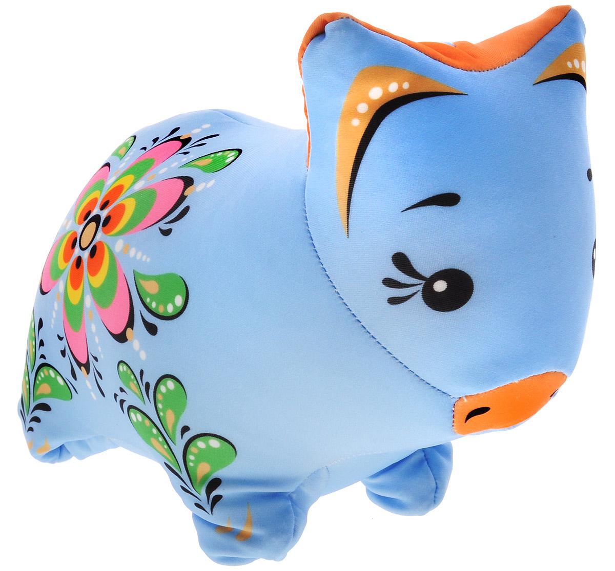 Maxi Toys Мягкая игрушка Свинка Городецкий стиль 20 см цвет голубой