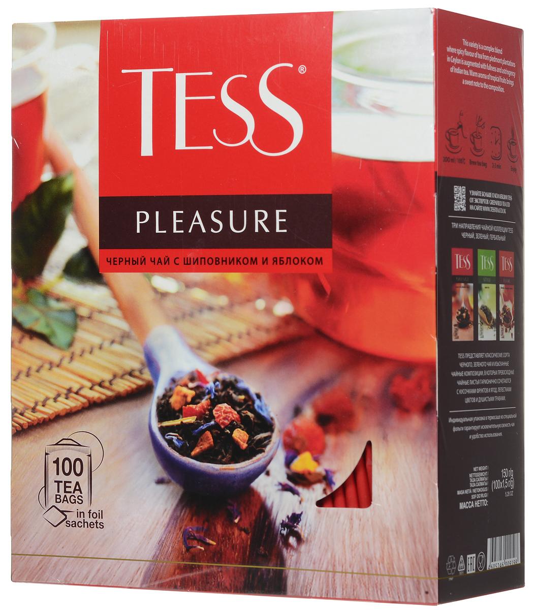 Tess Pleasure черный чай с шиповником и яблоком в пакетиках, 100 шт0120710Tess Pleasure - выразительная композиция из черного чая с кусочками шиповника, сушеных яблок и нежных васильковых лепестков. Особая прелесть этого сорта - сочетание мягкого вкуса цейлонского чая и тонких оттенков фруктов. Приятный нежный аромат с легким оттенком персика.
