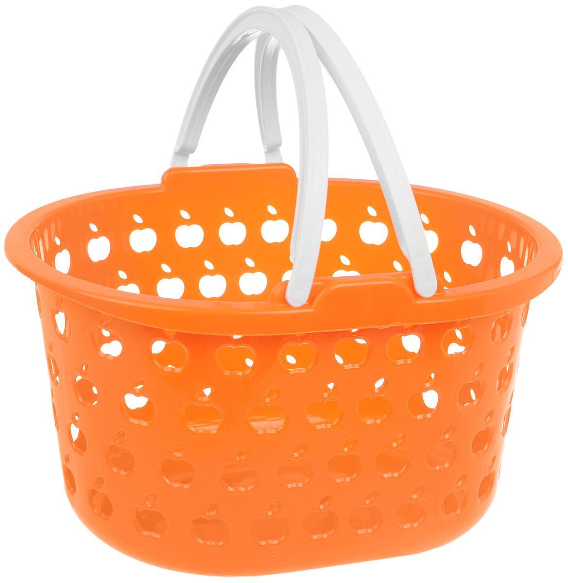 Корзина Полимербыт Стайл, цвет: оранжевый, белый, 3,2 л115510Овальная корзина Полимербыт Стайл изготовлена из высококачественного цветного пластика и декорирована перфорацией в виде яблок. Она предназначена для хранения различных мелочей дома или на даче. Для удобства переноски имеются две ручки. Позволяет хранить мелкие вещи, исключая возможность их потери. Корзина очень вместительная. Элегантный выдержанный дизайн позволяет органично вписаться в ваш интерьер и стать его элементом.Размер корзины (без учета ручек): 23 см х 18,5 см х 14 см.
