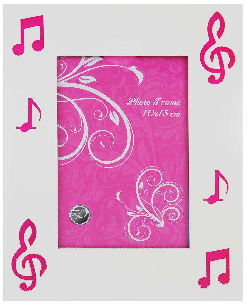 Фоторамка Pioneer Music, цвет: белый, розовый, 10 см х 15 см25051 7_желтыйФоторамка Pioneer Music поможет вам оригинально дополнить интерьер помещения. Фоторамка изготовлена из МДФ и стекла и оформлена перфорацией в виде нот. Задняя сторона оснащена ножкой для размещения на столе.Такая рамка позволит сохранить на память изображения дорогих вам людей и интересных событий вашей жизни, а также станет приятным подарком для каждого. Размер фоторамки: 17,5 см х 22,5 см.