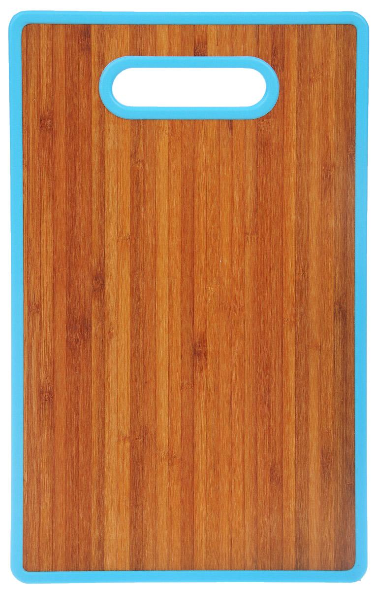 Доска разделочная Home Center, цвет: голубой, 22,5 см х 37 см10136392_голубойРазделочная доска Home Center идеально впишется в интерьер современной кухни. Изделие выполнено с одной стороны -из высококачественного пластика, с другой - из бамбука. Благодаря качественному природному материалу - древесине бамбука, доска обладает высокими гигиеничными свойствами, не впитывает влагу и запахи, имеет долгий срок службы и высокую износоустойчивость. Она прекрасно подойдет для нарезки любых продуктов. Размер доски: 22,5 см х 37 см х 1,2 см.