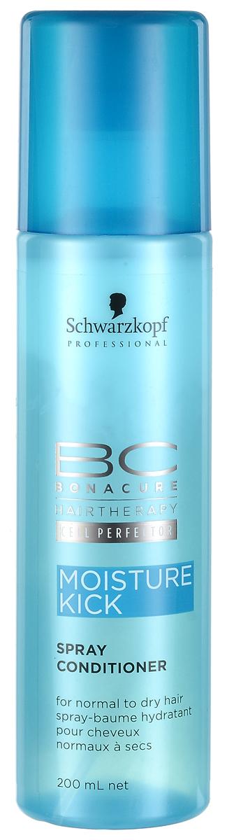 Bonacure Кондиционер-спрей Интенсивное Увлажнение Moisture Kick Spray-Conditioner 200 млSatin Hair 7 BR730MNМгновенно увлажняющий легкий двухфазный спрей кондиционер для нормальных, сухих, ломких или вьющихся волос. Во время встряхивания флакона кремовая и водная фазы смешиваются, образуя легкую эмульсию, которая наносится на волосы тонким слоем, увлажняет и не перегружает. Распутывает волосы и улучшает расчесывание, разглаживает поверхность и придает здоровый блеск. Рекомендуется использовать в комплексе с шампунем BC Moisture Kick.