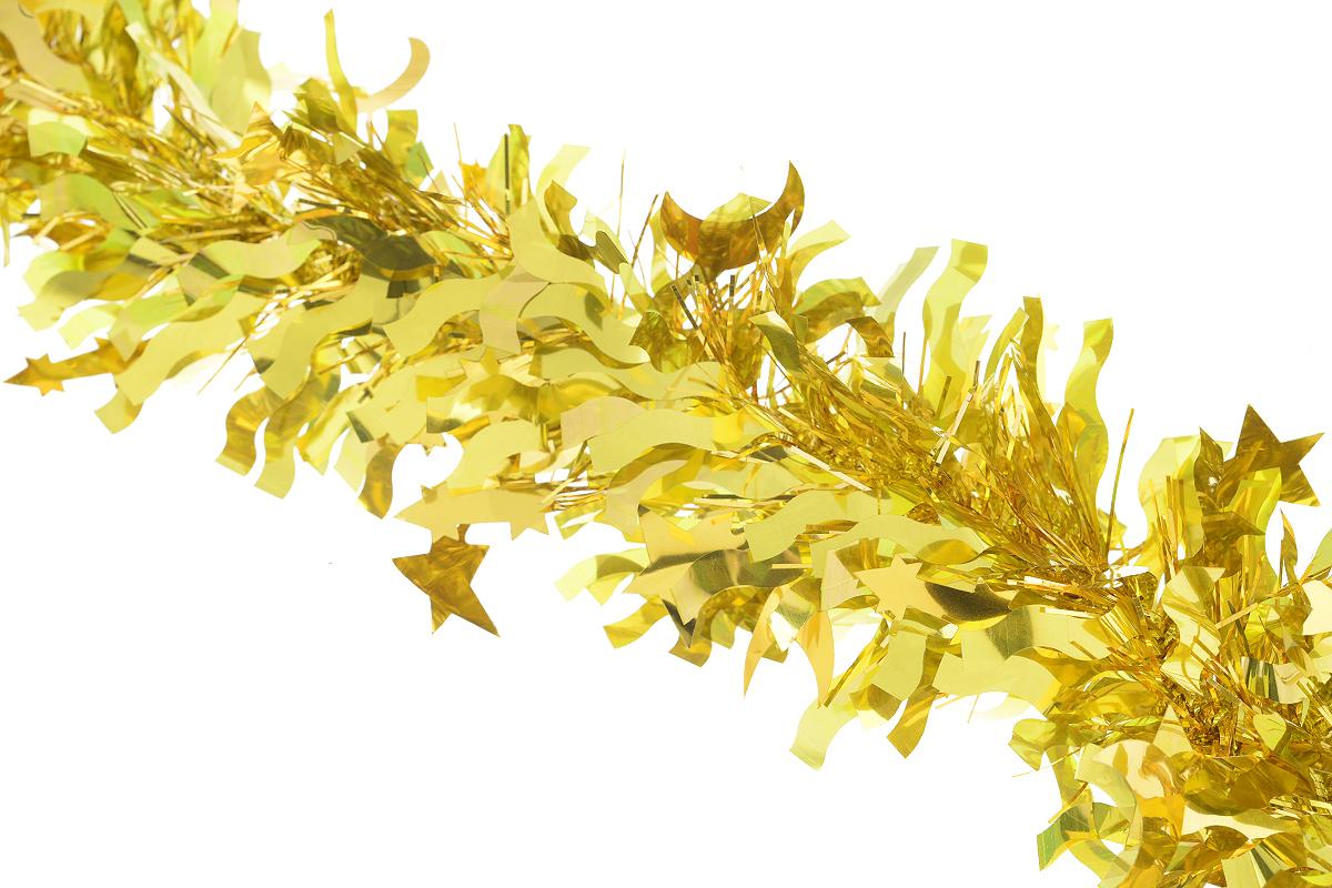 Мишура новогодняя Sima-land, цвет: желтый, диаметр 9 см, длина 200 см. 825979RSP-202SНовогодняя мишура Sima-land, выполненная из фольги с дизайном в виде звездочек и полумесяцев, поможет вам украсить свой дом к предстоящим праздникам. А новогодняя елка с таким украшением станет еще наряднее. Мишура армирована, то есть имеет проволоку внутри и способна сохранять приданную ей форму. Новогодней мишурой можно украсить все, что угодно - елку, квартиру, дачу, офис - как внутри, так и снаружи. Можно сложить новогодние поздравления, буквы и цифры, мишурой можно украсить и дополнить гирлянды, можно выделить дверные колонны, оплести дверные проемы. Коллекция декоративных украшений из серии Зимнее волшебство принесет в ваш дом ни с чем несравнимое ощущение праздника! Создайте в своем доме атмосферу тепла, веселья и радости, украшая его всей семьей.