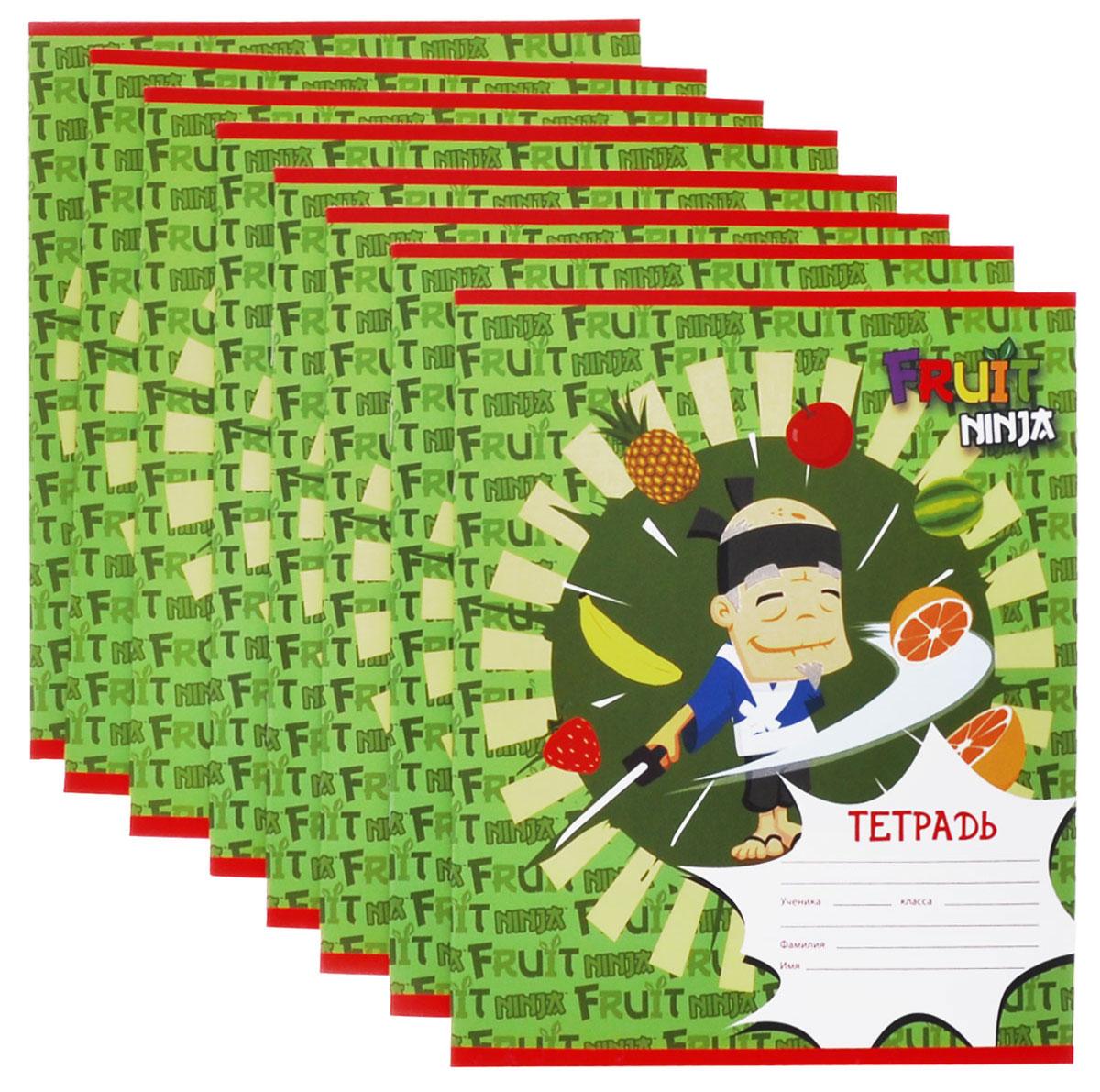 Action! Набор тетрадей в клетку Fruit Ninja цвет зеленый 24 листа 8 шт72523WDНабор тетрадей в клетку Action! Fruit Ninja идеально подойдет для занятий школьнику или студенту. Обложка, выполненная из плотного картона, позволит сохранить тетрадь в аккуратном состоянии на протяжении всего времени использования. Обложка тетради оформлена красочным изображением с героями из игры Fruit Ninja. Внутренний блок состоит из 24 листов белой бумаги в фиолетовую клетку с полями.