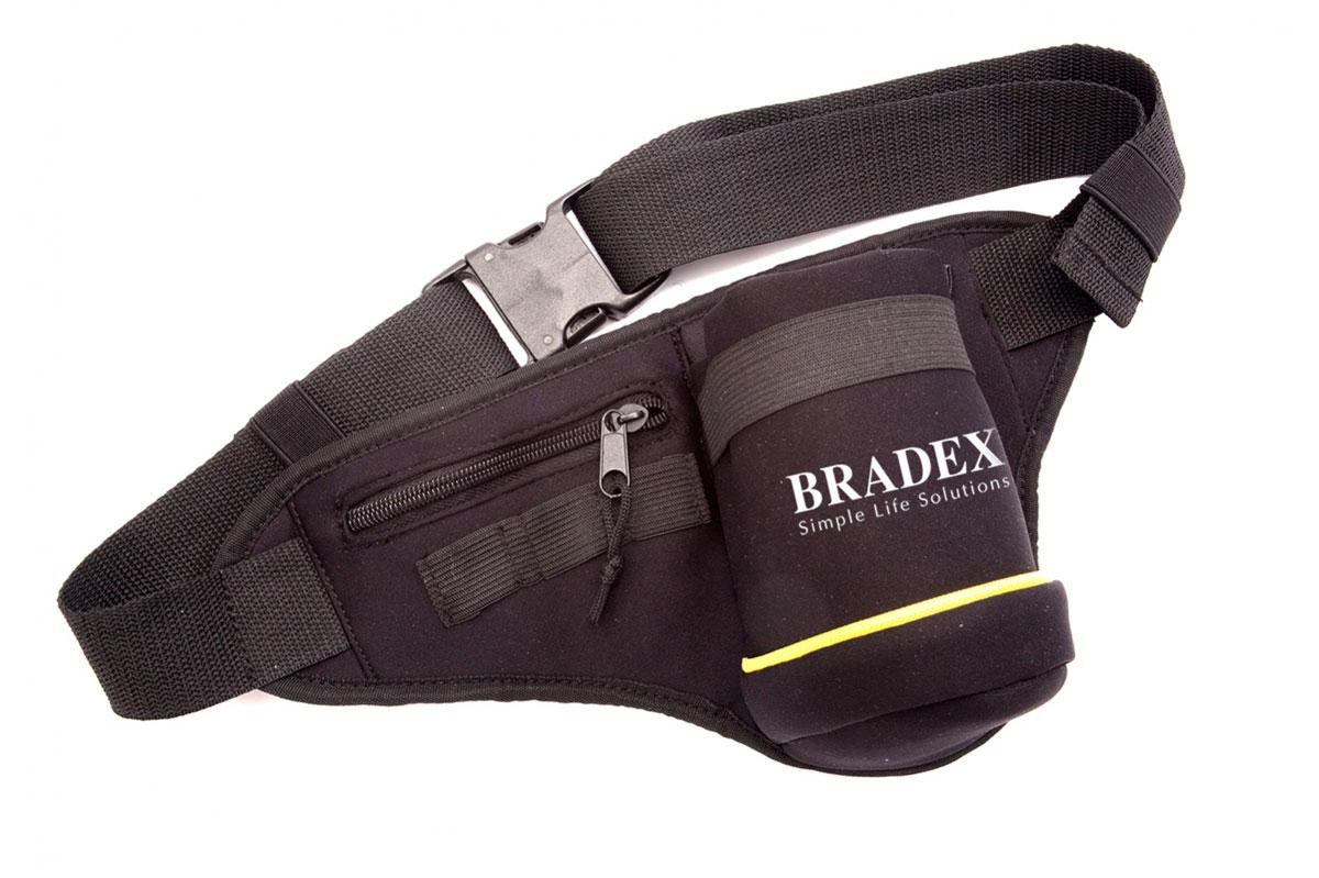 Сумка поясная для бега Bradex, цвет: черный, желтый, белый. SF 0086L32912500Стильная сумка на пояс Bradex выполнена из неопрена, оформлена символикой бренда.Сумка фиксируется на поясе с помощью застежки-пряжки. Длина поясного ремня регулируется. Сумка поясная для бега Bradex - это прекрасное решение для бегунов, которым необходим удобный способ переноски небольшого количества воды. Сумка оснащена удобным карманом для мелочей, таких как ключи или деньги, а так же специальным креплением для энергетических гелей.Сумка поясная для бега Bradex станет настоящей находкой как для любителей, так и для профессиональных спортсменов.