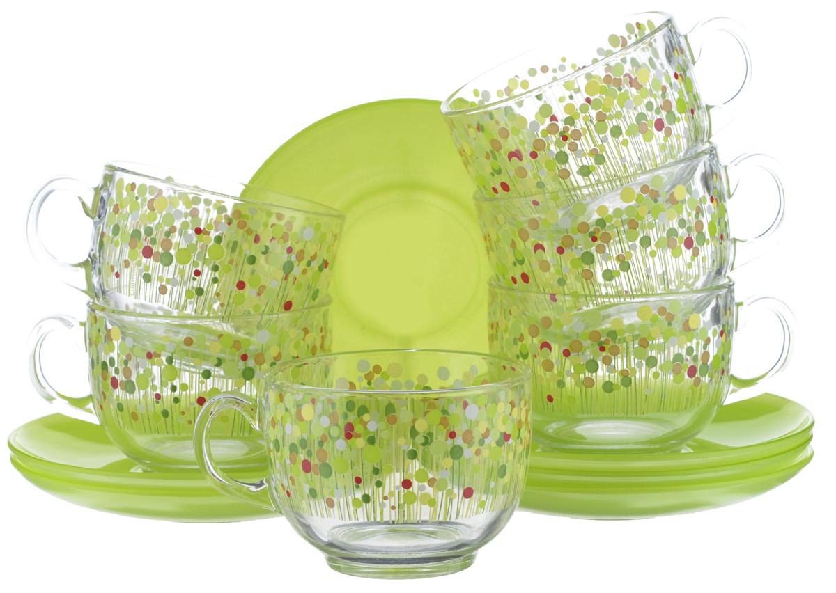 Набор чайный Luminarc Flowerfield, 12 предметов. H2496VT-1520(SR)Чайный набор Luminarc Flowerfield состоит из 6 чашек и 6 блюдец. Изделия, выполненные извысококачественного ударопрочного стекла, имеют элегантныйдизайн и классическую круглую форму. Посуда отличается прочностью,гигиеничностью и долгим сроком службы, она устойчива к появлению царапин ирезким перепадам температур. Такой набор прекрасно подойдет как для повседневного использования, так и дляпраздников. Чайный набор Luminarc Flowerfield - это не только яркий и полезный подарок для родных иблизких, это также великолепное дизайнерское решение для вашей кухни илистоловой. Изделия можно мыть в посудомоечной машине и использовать в СВЧ-печи. Объем чашки: 220 мл. Диаметр чашки (по верхнему краю): 8,2 см. Высота чашки: 6 см.Диаметр блюдца (по верхнему краю): 14 см.Высота блюдца: 1,7 см.