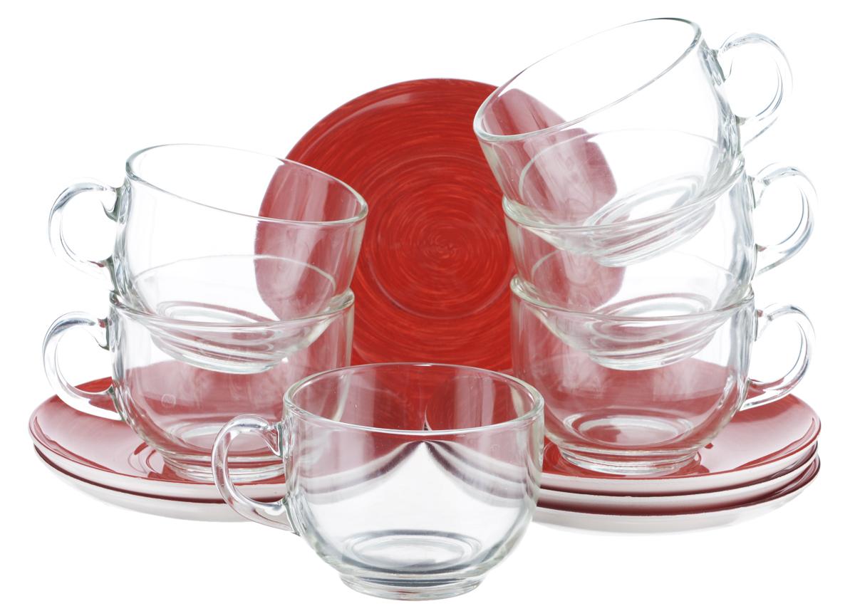 Набор чайный Luminarc Stonemania, цвет: прозрачный, красный, 12 предметовVT-1520(SR)Чайный набор Luminarc Stonemania состоит из 6 чашек и 6 блюдец. Изделия, выполненные извысококачественного ударопрочного стекла, имеют элегантныйдизайн и классическую круглую форму. Посуда отличается прочностью,гигиеничностью и долгим сроком службы, она устойчива к появлению царапин ирезким перепадам температур. Такой набор прекрасно подойдет как для повседневного использования, так и дляпраздников. Чайный набор Luminarc Stonemania - это не только яркий и полезный подарок для родных иблизких, это также великолепное дизайнерское решение для вашей кухни илистоловой. Изделия можно мыть в посудомоечной машине и использовать в СВЧ-печи. Объем чашки: 220 мл. Диаметр чашки (по верхнему краю): 8,3 см. Высота чашки: 6,2 см.Диаметр блюдца (по верхнему краю): 14 см.Высота блюдца: 1,7 см.