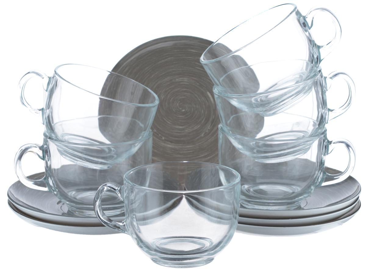 Набор чайный Luminarc Stonemania, цвет: прозрачный, серый, 12 предметовVT-1520(SR)Чайный набор Luminarc Stonemania состоит из 6 чашек и 6 блюдец. Изделия, выполненные извысококачественного ударопрочного стекла, имеют элегантныйдизайн и классическую круглую форму. Посуда отличается прочностью,гигиеничностью и долгим сроком службы, она устойчива к появлению царапин ирезким перепадам температур. Такой набор прекрасно подойдет как для повседневного использования, так и дляпраздников. Чайный набор Luminarc Stonemania - это не только яркий и полезный подарок для родных иблизких, это также великолепное дизайнерское решение для вашей кухни илистоловой. Изделия можно мыть в посудомоечной машине и использовать в СВЧ-печи. Объем чашки: 220 мл. Диаметр чашки (по верхнему краю): 8,3 см. Высота чашки: 6,2 см.Диаметр блюдца (по верхнему краю): 14 см.Высота блюдца: 1,7 см.