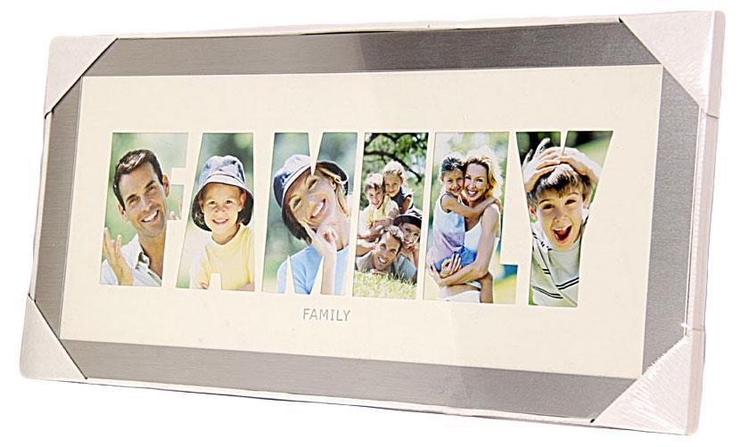 Фоторамка РАТАFamily, цвет: серебристый, на 6 фото74-0120Фоторамка РАТА отлично дополнит интерьер помещения и поможет сохранить на память ваши любимые фотографии. Фоторамка представляет собой коллаж на 6 фотографий в виде надписи FAMILY.Такая рамка позволит сохранить на память изображения дорогих вам людей и интересных событий вашей жизни, а также станет приятным подарком для каждого.Размер фото: 8 х 13,5 см.