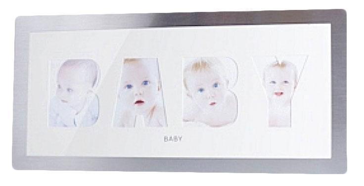 Фоторамка РАТА Baby, цвет: серебристый, на 4 фотоRG-D31SФоторамкаРАТАFriends отлично дополнит интерьер помещения и поможет сохранить на память ваши любимые фотографии. Фоторамка представляет собой коллаж на 4 фотографии в виде надписи BABY.Такая рамка позволит сохранить на память изображения дорогих вам людей и интересных событий вашей жизни, а также станет приятным подарком для каждого.