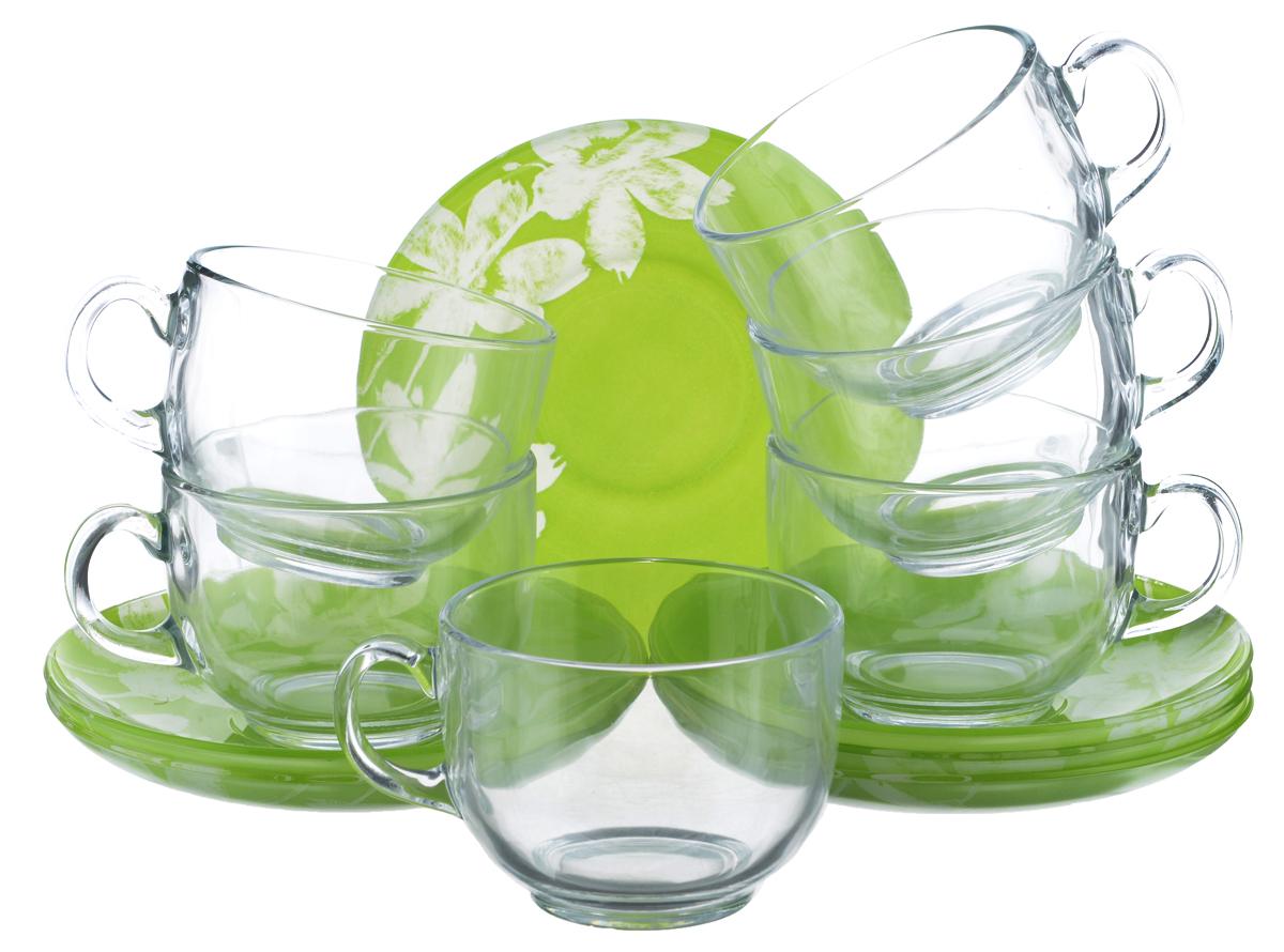 Набор чайный Luminarc Cotton Flower, 12 предметов115510Чайный набор Luminarc Cotton Flower состоит из 6 чашек и 6 блюдец. Изделия, выполненные из высококачественного ударопрочного стекла, имеют элегантный дизайн с красивым цветочным орнаментом. Посуда отличается прочностью, гигиеничностью и долгим сроком службы, она устойчива к появлению царапин и резким перепадам температур. Такой набор прекрасно подойдет как для повседневного использования, так и для праздников. Чайный набор Luminarc Cotton Flower - это не только яркий и полезный подарок для родных и близких, это также великолепное дизайнерское решение для вашей кухни или столовой. Изделия можно мыть в посудомоечной машине и использовать в СВЧ-печи. Объем чашки: 220 мл. Диаметр чашки (по верхнему краю): 8,2 см. Высота чашки: 6 см.Диаметр блюдца (по верхнему краю): 14 см.Высота блюдца: 2 см.