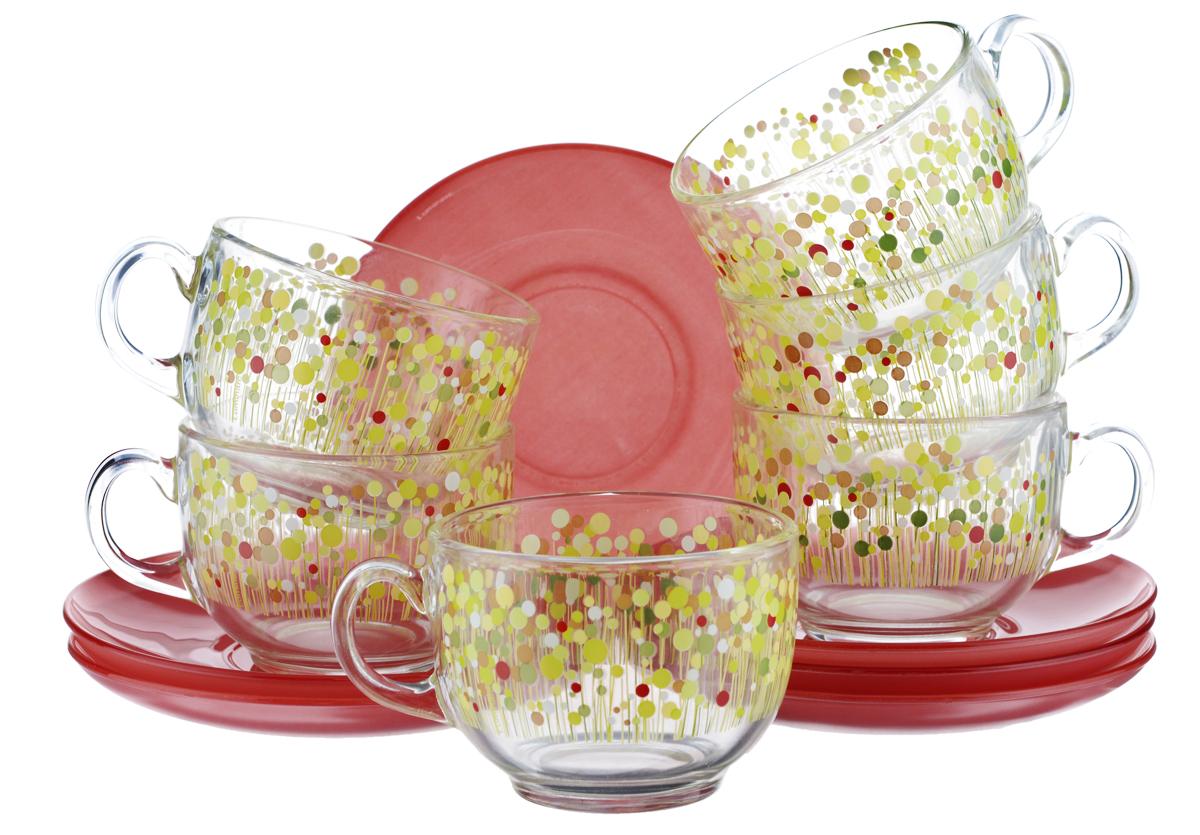 Набор чайный Luminarc Flowerfield, цвет: прозрачный, красный, желтый, 12 предметовVT-1520(SR)Чайный набор Luminarc Flowerfield состоит из шести чашек и шести блюдец. Предметы набора изготовлены из высококачественного стекла. Чайный набор яркого и в тоже время лаконичного дизайна украсит интерьер кухни и сделает ежедневное чаепитие настоящим праздником.Объем чашек: 220 мл.Диаметр чашек по верхнему краю: 8,3 см.Высота чашек: 6 см.Диаметр блюдец: 13 см.