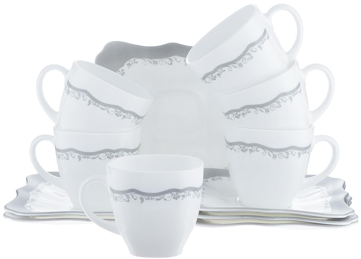 Набор чайный Luminarc Authentic Silver, цвет: белый, 12 предметов115510Чайный набор Luminarc Authentic Silver состоит из 6 чашек и 6 блюдец. Изделия выполнены из высококачественного ударопрочного стекла, имеют элегантный дизайн с красивым цветочным орнаментом. Блюдца квадратной формы декорированы красивыми резными краями. Посуда отличается прочностью, гигиеничностью и долгим сроком службы, она устойчива к появлению царапин и резким перепадам температур. Такой набор прекрасно подойдет как для повседневного использования, так и для праздников или особенных случаев. Чайный набор Luminarc - это не только яркий и полезный подарок для родных и близких, это также великолепное дизайнерское решение для вашей кухни или столовой. Изделия можно мыть в посудомоечной машине и использовать в СВЧ-печи. Объем чашки: 220 мл. Размер чашки: 7,5 см х 7,5 см х 7,5 см. Размер блюдца: 15 см х 15 см.