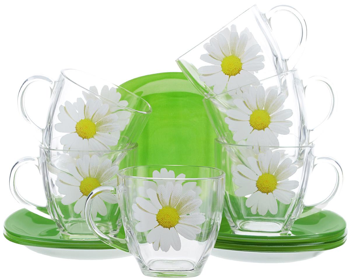 Набор чайный Luminarc Paquerette Green, 12 предметовVT-1520(SR)Чайный набор Luminarc Paquerette Greenсостоит из шести чашек и шести блюдец. Предметы набора изготовлены из высококачественного стекла, которые обладают высокой степенью прочности, устойчивостью к царапинам и резким перепадам температур. Прозрачные чашки украшены цветочным принтом и дополнены блюдцами цвета сочной весенней травы. Чайный набор яркого и лаконичного дизайна, украсит интерьер кухни и сделает ежедневное чаепитие настоящим праздником. Можно использовать в микроволновой печи, и мыть в посудомоечной машине. Объем чашек: 220 мл.Размер чашек: 7,2 см х 7 см.Высота чашек: 7 см.Размер блюдец: 13,3 см х 13,3 см.