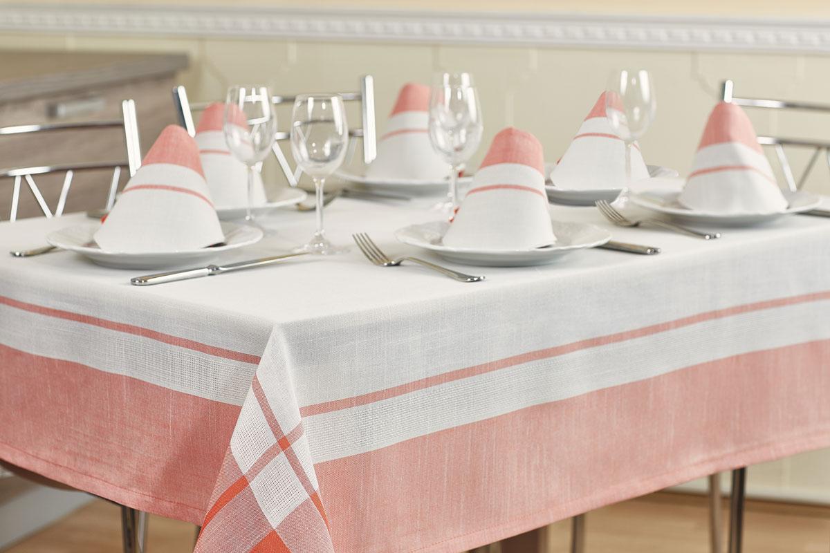Комплект столовый Primavelle Duet, цвет: белый, розовый, 7 предметовVT-1520(SR)Роскошный комплект столового белья Primavelle Duet состоит из скатерти прямоугольной формы и шести квадратных салфеток. Комплект выполнен из натуральных тканей: льна - 30% и хлопка - 70%. Комплект несомненно, придаст интерьеру уют и внесет что-то новое. Использование такого комплекта сделает застолье более торжественным, поднимет настроение гостей и приятно удивит их вашим изысканным вкусом. Вы можете использовать этот комплект для повседневной трапезы, превратив каждый прием пищи в волшебный праздник и веселье.Размер скатерти: 160 х 220 см. Размер салфеток: 40 х 40 см.