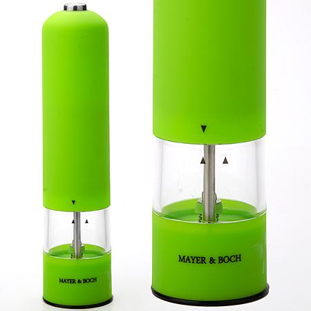 Перцемолка электрическая Mayer & Boch, цвет: зеленый, прозрачный, высота 23 смFD-59Перцемолка электрическая Mayer & Boch подходит для хранения и помола любых видов приправ, таких как перец горошком или крупная соль. Корпус изделия выполнен из пластика с прорезиненным, приятным на ощупь покрытием. Емкость изготовлена из прозрачного акрила. Мелющий механизм с регулируемой грубостью помола произведен из первоклассной нержавеющей стали. Еще одной особенностью данной перцемолки является подсветка крышки. Имеется как ручной, так и автоматический режим. Такая перцемолка прекрасно подходит для использования на кухне и для сервировки стола. Работает от 4 батареек типа АА (в комплект не входят).
