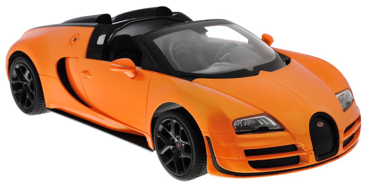 """Радиоуправляемая модель Rastar """"Bugatti Veyron 16.4 Grand Sport Vitesse"""" станет отличным подарком любому мальчику! Все дети хотят иметь в наборе своих игрушек ослепительные, невероятные и крутые автомобили на радиоуправлении. Тем более, если это автомобиль известной марки с проработкой всех деталей, удивляющий приятным качеством и видом. Одной из таких моделей является автомобиль на радиоуправлении Rastar """"Bugatti Veyron 16.4 Grand Sport Vitesse"""". Это точная копия настоящего авто в масштабе 1:14. Авто обладает неповторимым провокационным стилем и спортивным характером. Потрясающая маневренность, динамика и покладистость - отличительные качества этой модели. Возможные движения: вперед, назад, вправо, влево, остановка. Имеются световые эффекты. Пульт управления работает на частоте 2.4 GHz. Для работы игрушки необходимы 5 батареек типа АА (не входят в комплект). Для работы пульта управления необходима 1 батарейка 9V (6F22) (не входит в комплект)."""