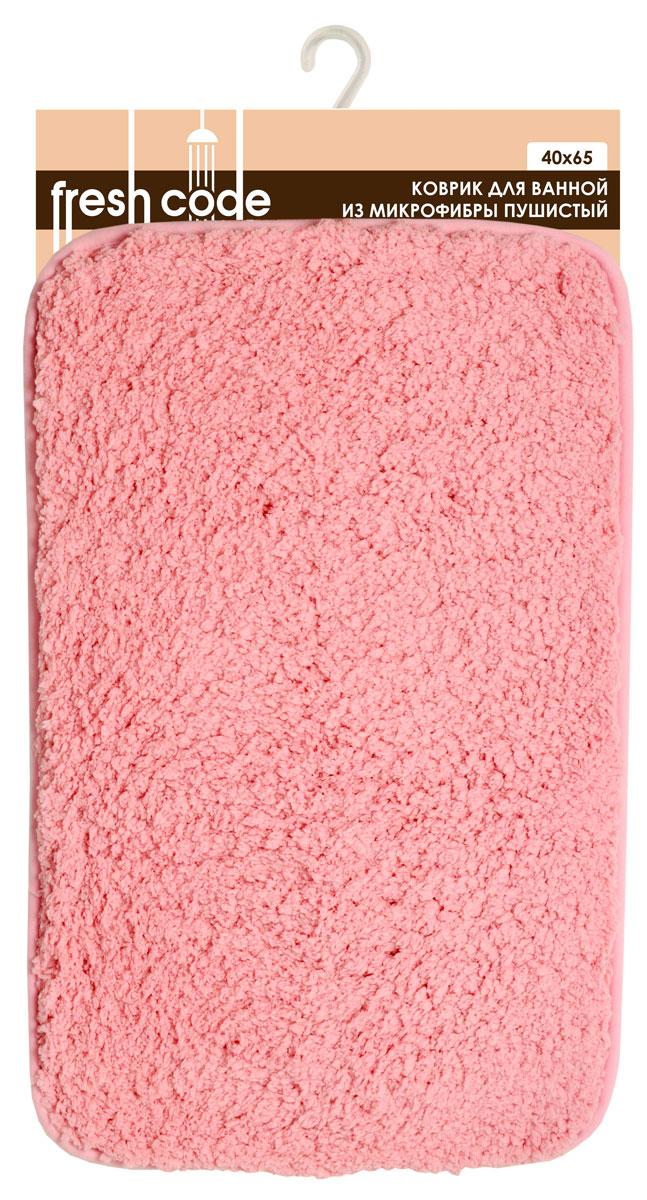 Коврик для ванной комнаты Fresh Code, цвет: розовый, 65 х 40 см 58177391602Коврик для ванной Fresh Code изготовлен из 100% полиэстера. Яркий цветной коврик создаст уют в ванной комнате. Волокно микрофибры превосходно впитывает влагу, создает комфортное, мягкое покрытие. Рекомендации по уходу: - стирать в ручном режиме, - не использовать отбеливатели, - не гладить,- не подходит для сухой чистки (химчистки).