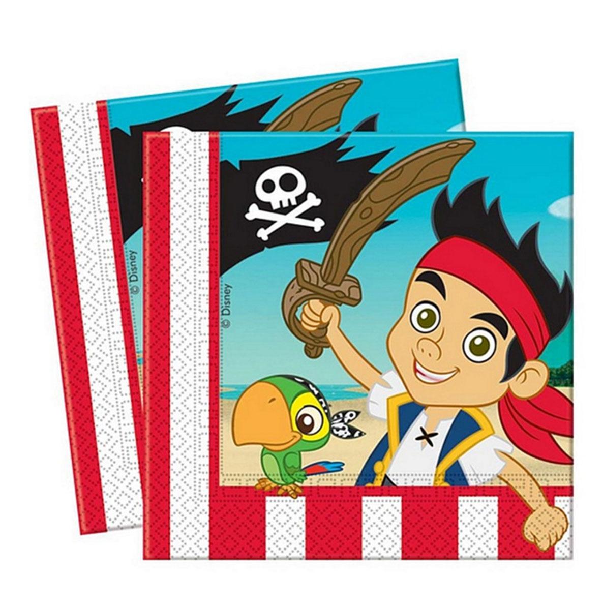 Procos Сервировка детского праздничного стола Салфетки Джейк и пираты Нетландии, 20 шт - Сервировка праздничного стола