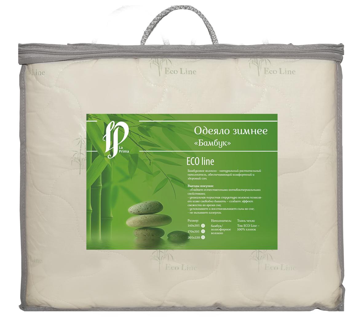 Одеяло зимнее La Prima, наполнитель: бамбук, полиэфирное волокно, цвет: молочный, 140 х 205 см00000004563Одеяло La Prima - это выбор тех, кто заботится о своем здоровье, поскольку оно отличается не только теплотой и мягкостью, но и своими целебными свойствами. Чехол выполнен из тика (100% хлопок). Наполнитель - бамбук с добавлением полиэфирного волокна. Одеяло простегано и окантовано, стежка равномерно удерживает наполнитель внутри. Бамбуковое волокно - натуральный растительный наполнитель, обеспечивающий комфортный и здоровый сон.