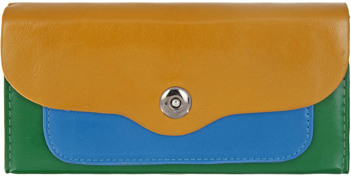 Кошелек женский Mitya Veselkov, цвет: горчичный, зеленый, голубой. K-3CGRE381270Стильный женский кошелек Mitya Veselkov выполнен из мягкой искусственной кожи и исполнен в трех цветах. Изделие закрывается клапаном на кнопку-магнит. Внутри - 2 отделения для купюр, отделение для мелочи на застежке-молнии, 4 прорезных кармашка для пластиковых карт и визиток, 3 потайных кармана для документов и мелких бумаг (один из них с прозрачным окошком).Под клапаном расположен потайной карман для различных бумаг и документов.Элегантный кошелек подчеркнет вашу индивидуальность и изысканный вкус, а также станет замечательным подарком человеку, ценящему качественные и практичные вещи.