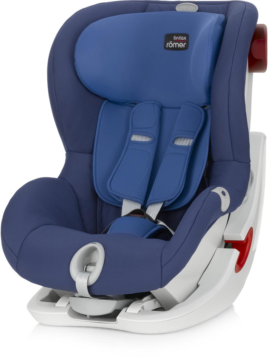 Romer Автокресло King II LS Ocean Blue от 9 до 18 кг2000022571Автокресло Romer King II LS группы 1 предназначено для детей весом от 9 до 18 кг (от 9 месяцев до 4 лет). Автокресло оснащено уникальной системой световой индикации натяжения ремня безопасности и складывающимся вперед сиденьем для удобства установки. Установка в автомобиле с помощью штатного ремня безопасности. Для удобства использования была создана специальная система светового оповещения, чтобы правильно оценить степень натяжения ремня. Для её активации нужно усадить ребенка в автокресло, отрегулировать плечевые накладки, защелкнуть замок, и потянуть за ремень снизу автокресла на себя до включения зеленого индикатора. Можно ехать, ваш ребенок надежно зафиксирован в автокресле. Особенности:Light System - световой индикатор ремня безопасности: определяет правильность натяжения ремня.Интуитивно понятная установка в автомобиль: откидывающаяся чаша и запатентованная система донатяжения штатного ремня.Легкая регулировка по высоте одной рукой - подголовник поднимается вместе с ремнями безопасности.Мягкие глубокие боковины и плечевые накладки, обеспечивают оптимальную защиту.5-ти точечные ремни безопасности с централизованной системой натяжения регулируются одной рукой.Держатели для ремня безопасности.Регулировка наклона автокресла позволяет изменить положение, не потревожив сон ребенка.Чехол из мягкой ткани быстро снимается, не зависимо от ремней безопасности.
