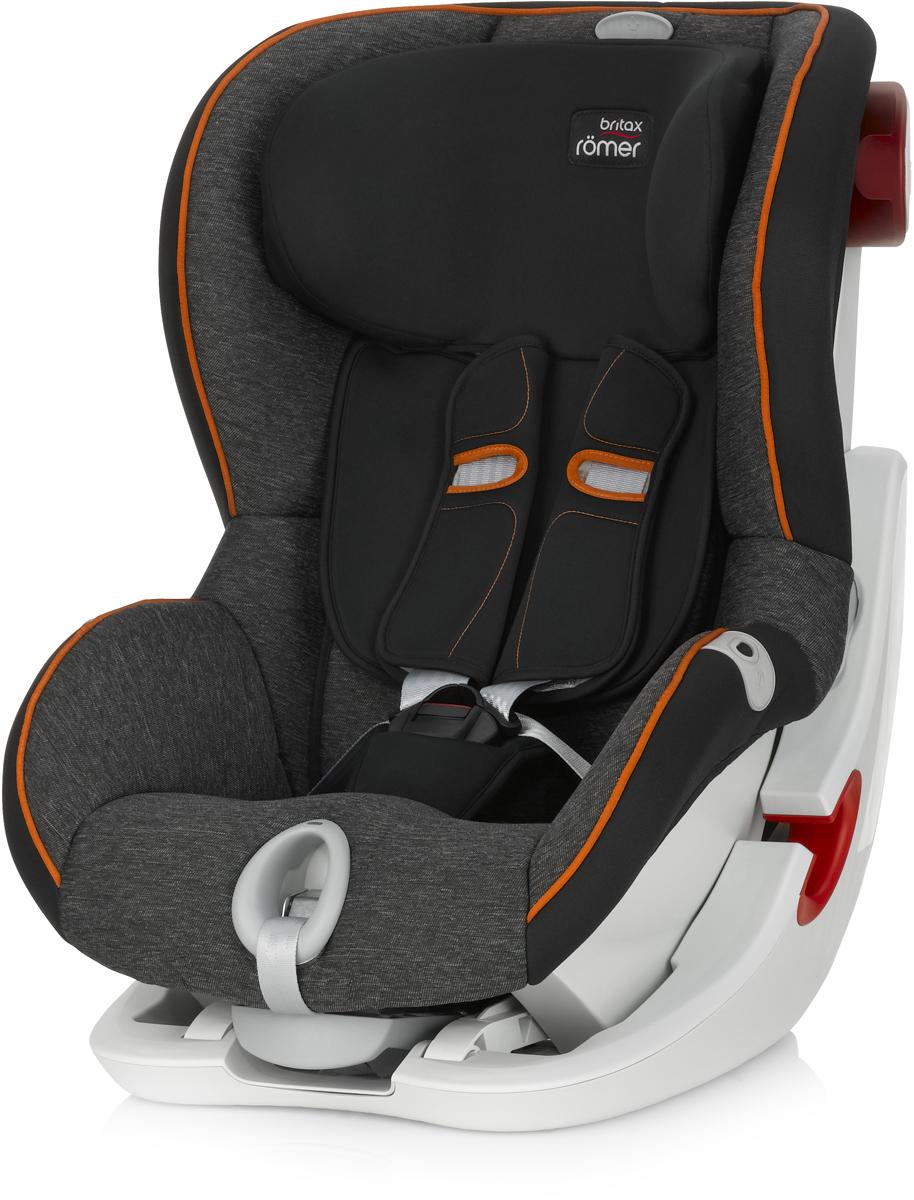 Romer Автокресло King II LS Black Marble от 9 до 18 кгFS-80423Автокресло Romer King II LS группы 1 предназначено для детей весом от 9 до 18 кг (от 9 месяцев до 4 лет). Автокресло оснащено уникальной системой световой индикации натяжения ремня безопасности и складывающимся вперед сиденьем для удобства установки. Установка в автомобиле с помощью штатного ремня безопасности. Для удобства использования была создана специальная система светового оповещения, чтобы правильно оценить степень натяжения ремня. Для её активации нужно усадить ребенка в автокресло, отрегулировать плечевые накладки, защелкнуть замок, и потянуть за ремень снизу автокресла на себя до включения зеленого индикатора. Можно ехать, ваш ребенок надежно зафиксирован в автокресле. Особенности:Light System - световой индикатор ремня безопасности: определяет правильность натяжения ремня.Интуитивно понятная установка в автомобиль: откидывающаяся чаша и запатентованная система донатяжения штатного ремня.Легкая регулировка по высоте одной рукой - подголовник поднимается вместе с ремнями безопасности.Мягкие глубокие боковины и плечевые накладки, обеспечивают оптимальную защиту.5-ти точечные ремни безопасности с централизованной системой натяжения регулируются одной рукой.Держатели для ремня безопасности.Регулировка наклона автокресла позволяет изменить положение, не потревожив сон ребенка.Чехол из мягкой ткани быстро снимается, не зависимо от ремней безопасности.