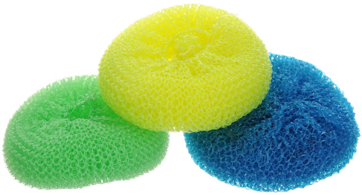 Мочалка для посуды York, цвет: желтый, зеленый, синий, 3 шт0101Мочалка для посуды York выполнена из пластика. Изделие идеально подходит для очистки загрязненных кастрюль, посуды, тефлоновых сковород, при этом не царапая поверхность. Диаметр мочалки: 7 см.