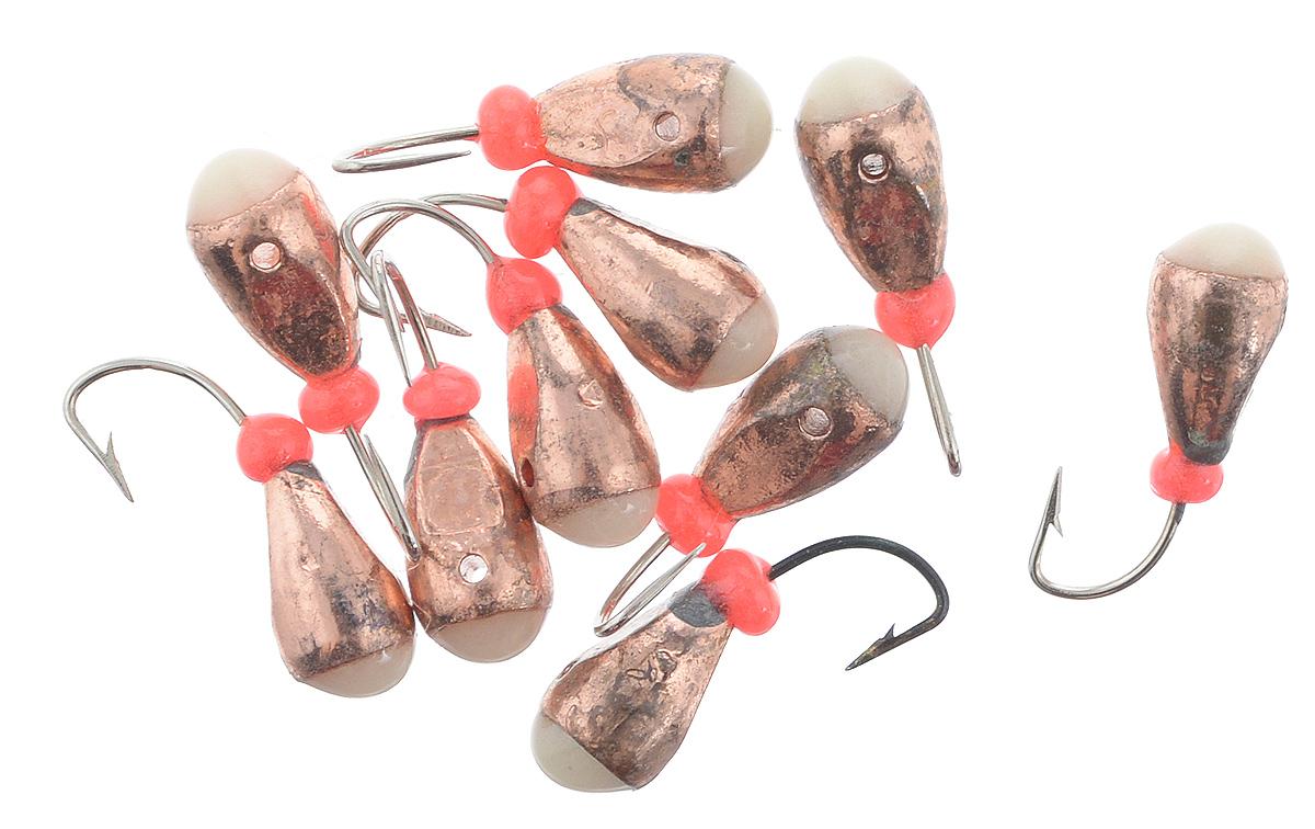 Мормышка вольфрамовая Dixxon-Russia, капля с отверстием и фосфором, цвет: медный, диаметр 4 мм, 10 шт4520Мормышка Dixxon-Russia изготовлена из вольфрама и оснащена крючком. Главное достоинство вольфрамовой мормышки - большой вес при малом объеме. Эта особенность дает большие преимущества при ловле, так как позволяет быстро погрузить приманку на требуемую глубину и лучше чувствовать игру мормышки.Диаметр мормышки: 4 мм.