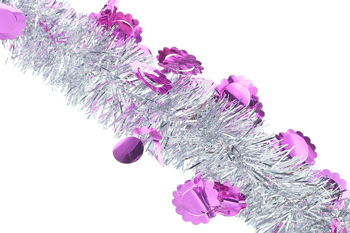 Мишура новогодняя Sima-land, цвет: серебристый, малиновый, диаметр 6 см, длина 200 см. 825978NLED-454-9W-BKНовогодняя мишура Sima-land, выполненная из фольги с дизайном в виде солнышка, поможет вам украсить свой дом к предстоящим праздникам. А новогодняя елка с таким украшением станет еще наряднее. Мишура армирована, то есть имеет проволоку внутри и способна сохранять приданную ей форму. Новогодней мишурой можно украсить все, что угодно - елку, квартиру, дачу, офис - как внутри, так и снаружи. Можно сложить новогодние поздравления, буквы и цифры, мишурой можно украсить и дополнить гирлянды, можно выделить дверные колонны, оплести дверные проемы.