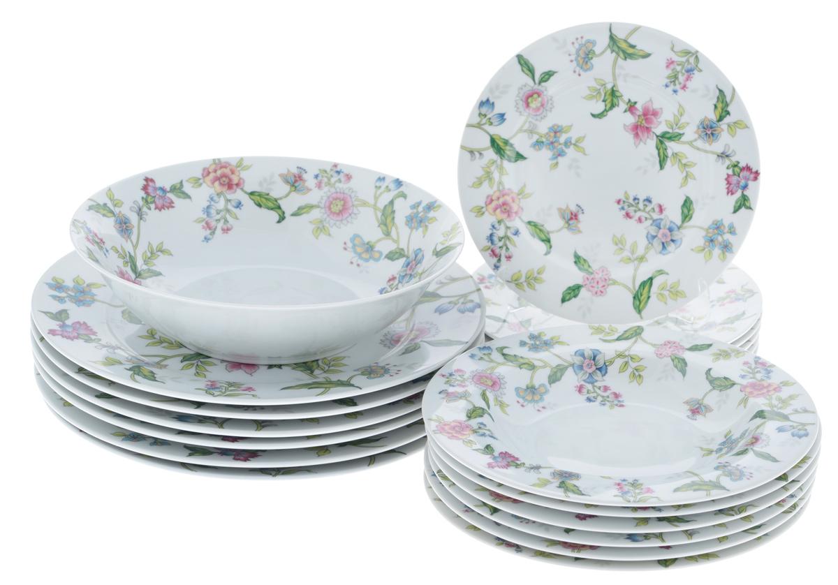 Набор столовой посуды Bekker Koch, 19 предметовBK-7288Набор Bekker Koch состоит из 6 суповых тарелок, 6 обеденных тарелок, 6 десертных тарелок и салатника. Изделия выполнены из высококачественного фарфора, имеют яркий дизайн и изящный цветочный рисунок. Посуда отличается прочностью, гигиеничностью и долгим сроком службы, она устойчива к появлению царапин и резким перепадам температур. Такой набор прекрасно подойдет как для повседневного использования, так и для праздников. Набор столовой посуды Bekker Koch - это не только яркий и полезный подарок для родных и близких, а также великолепное дизайнерское решение для вашей кухни или столовой. Можно мыть в посудомоечной машине.Диаметр суповой тарелки (по верхнему краю): 21,7 см. Высота суповой тарелки: 3,3 см.Диаметр обеденной тарелки (по верхнему краю): 27,1 см. Высота обеденной тарелки: 2,5 см. Диаметр десертной тарелки (по верхнему краю): 19,2 см. Высота десертной тарелки: 2 см. Диаметр салатника (по верхнему краю): 22,9 см.Высота салатника: 6,5 см.