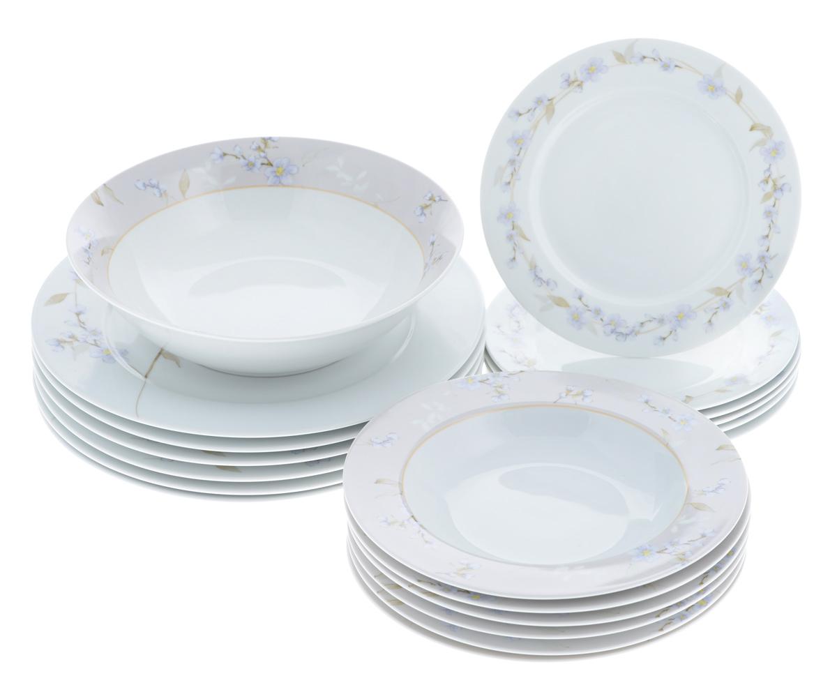 Набор столовой посуды Bekker Koch, 19 предметов. BK-7290BK-7290Набор Bekker Koch, изготовленный из высококачественного фарфора, состоит из 6 суповых тарелок, 6 обеденных тарелок, 6 десертных тарелок и салатника.Изделия декорированы изображением цветов. Такой сервиз придется по вкусу любителям классики, и тем, кто предпочитает утонченность и изысканность. Набор эффектно украсит стол к обеду, а также прекрасно подойдет для торжественных случаев.Можно мыть в посудомоечной машине. Диаметр обеденной тарелки (по верхнему краю): 27,1 см. Высота обеденной тарелки: 2 см. Диаметр суповой тарелки (по верхнему краю): 21,7 см. Высота суповой тарелки: 3 см.Диаметр десертной тарелки (по верхнему краю): 19,2 см. Высота десертной тарелки: 1,5 см. Диаметр салатника (по верхнему краю): 22,9 см. Высота салатника: 6 см.