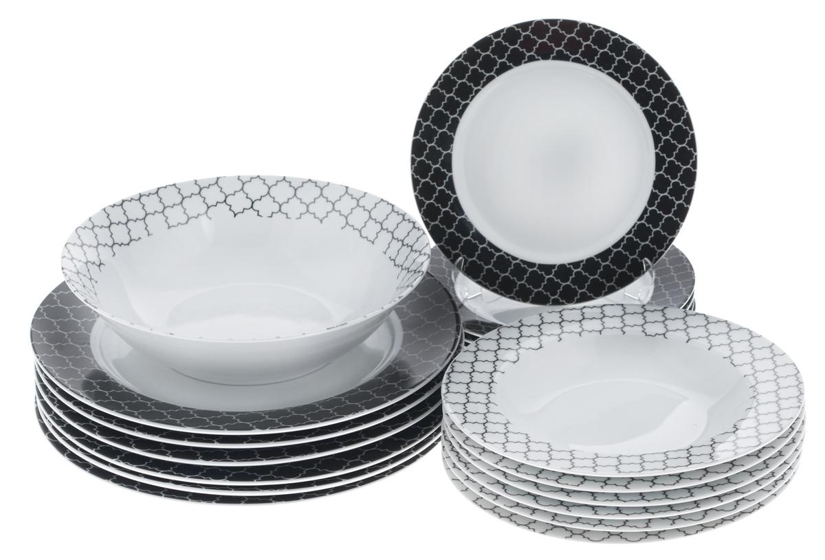 Набор столовой посуды Bekker Koch, 19 предметов. BK-728954 009312Набор Bekker Koch состоит из 6 суповых тарелок, 6 обеденных тарелок, 6 десертных тарелок и салатника. Изделия выполнены из высококачественного фарфора, имеют яркий дизайн и изящный рисунок. Посуда отличается прочностью, гигиеничностью и долгим сроком службы, она устойчива к появлению царапин и резким перепадам температур. Такой набор прекрасно подойдет как для повседневного использования, так и для праздников. Набор столовой посуды Bekker Koch - это не только яркий и полезный подарок для родных и близких, а также великолепное дизайнерское решение для вашей кухни или столовой. Можно мыть в посудомоечной машине.Диаметр суповой тарелки (по верхнему краю): 21,7 см. Высота суповой тарелки: 3,3 см.Диаметр обеденной тарелки (по верхнему краю): 27,1 см. Высота обеденной тарелки: 2,5 см. Диаметр десертной тарелки (по верхнему краю): 19,2 см. Высота десертной тарелки: 2 см. Диаметр салатника (по верхнему краю): 22,9 см.Высота салатника: 6,5 см.
