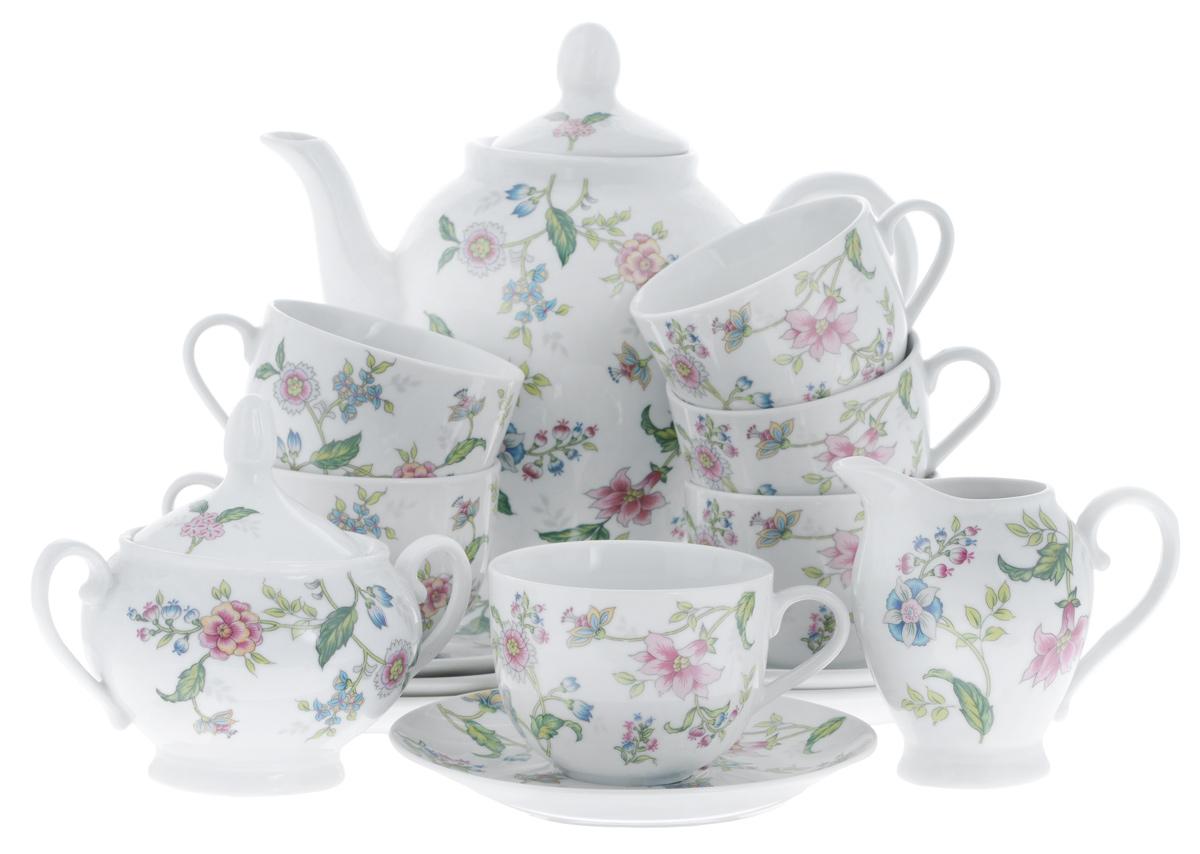 Сервиз чайный Bekker Koch, 15 предметов719506 1555Сервиз чайный Bekker Koch состоит из шести чашек, шести блюдец, заварочного чайника, молочника и сахарницы, изготовленных из фарфора. Предметы набора оформлены красочным изображением цветов.Изящный дизайн придется по вкусу и ценителям классики, и тем, кто предпочитает утонченность и изысканность. Он настроит на позитивный лад и подарит хорошее настроение с самого утра. Сервиз чайный - идеальный и необходимый подарок для вашего дома и для ваших друзей в праздники, юбилеи и торжества! Он также станет отличным подарком и украшением любой кухни.Объем чашек: 220 мл.Диаметр чашек (по верхнему краю): 8,5 см.Высота чашек: 6,5 см.Диаметр блюдец (по верхнему краю): 15,4 см.Высота блюдец: 2 см.Объем сахарницы: 280 мл.Высота сахарницы (с учетом крышки): 13 см.Диаметр сахарницы (по верхнему краю): 8 см. Объем чайника: 1,1 л.Высота чайника (с учетом крышки): 23 см.Диаметр чайника (по верхнему краю): 8 см. Объем молочника: 280 мл.Высота молочника: 10,5 см.Размер молочника по верхнему краю (с учетом носика): 7 см х 5 см.