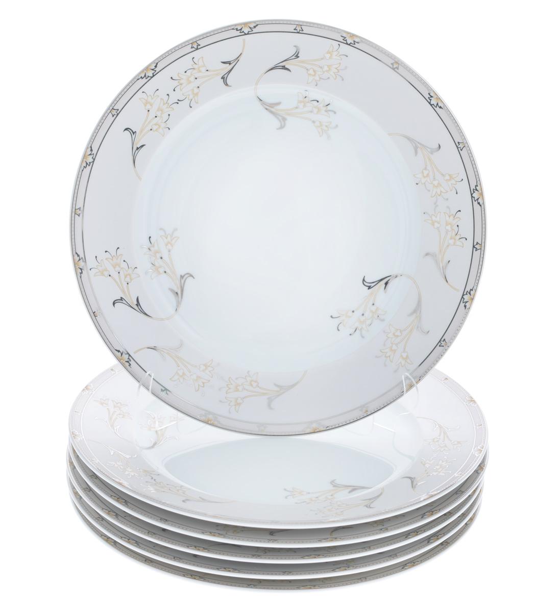 Набор тарелок La Rose Des Sables Mimosa, диаметр 25 см, 6 шт115510Набор La Rose Des Sables Mimosa, выполненный из высококачественного фарфора, состоит из шести тарелок. Изделия декорированы оригинальным цветочным узором и прекрасно подойдут для красивой сервировки стола. Эстетичность, функциональность и изящный дизайн сделают набор достойным дополнением к вашему кухонному инвентарю. Набор тарелок La Rose Des Sables Mimosa украсит ваш стол и станет отличным подарком к любому празднику. Диаметр тарелки: 25 см. Высота тарелки: 2,5 см.