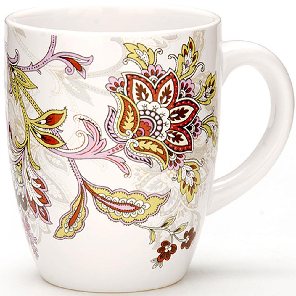 Кружка Loraine, 380 мл. 24835115510Кружка Loraine изготовлена из керамики. Изделие оформлено цветочным орнаментом.Такая кружка прекрасно оформит стол к чаепитию и станет его неизменным атрибутом.