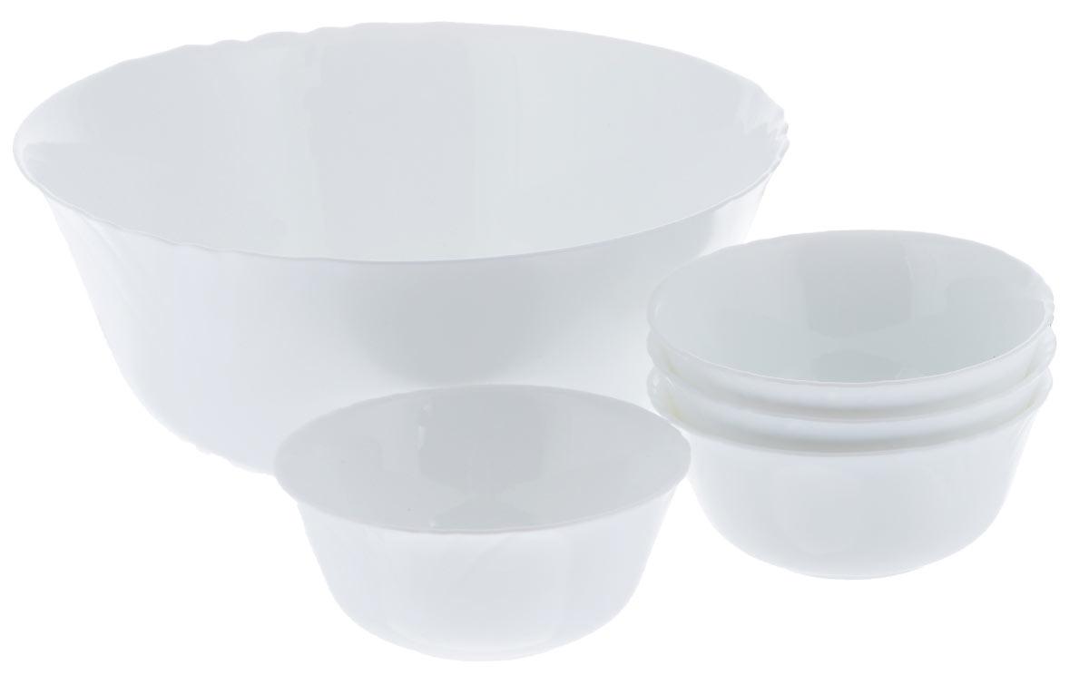 Набор салатников Luminarc Cadix, 5 предметовJ3191Набор Luminarc Lotusia включает в себя 4 мелких салатника и 1 большой. Изделия выполнены из высококачественного стекла. Салатники отлично подойдут для сервировки стола. Оригинальность дизайна набора придется по вкусу и ценителям классики, и тем, кто предпочитает утонченность и изысканность.Диаметр большого салатника (по верхнему краю): 24 см.Диаметр дна большого салатника: 12 см.Высота большого салатника: 10,2 см.Диаметр мелких салатников (по верхнему краю): 12 см.Диаметр дна маленьких салатников: 5,5 см.Высота маленьких салатников: 5,5 см.
