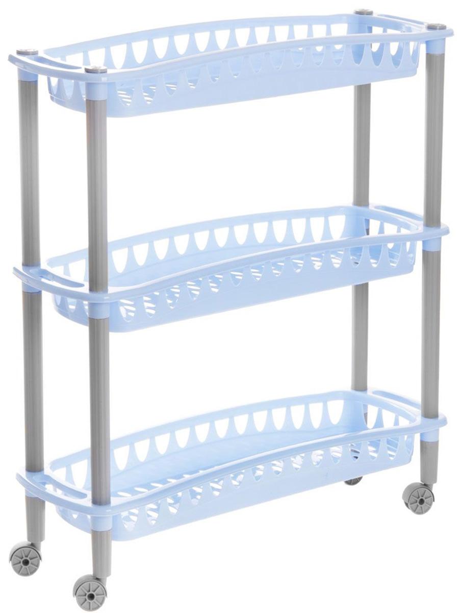 Этажерка Бытпласт Джулия, 3-х ярусная, на колесиках, цвет: голубой, 59 см х 18 см х 61 смK100Узкая этажерка Бытпласт Джулия выполнена из высококачественного пластика. Содержит 3 корзины с перфорированным дном и стенками. Этажерка подходит для хранения различных фруктов и овощей на кухне или различных принадлежностей в ванной комнате. Благодаря колесикам ее можно перемещать в любую сторону без особых усилий. Очень удобная и компактная, но в тоже время вместительная, такая этажерка прекрасно впишется в интерьер любой кухни или ванной комнаты. Она поможет легко организовать пространство. Легко собирается и разбирается. Размер этажерки (ДхШхВ): 59 см х 18 см х 61 см. Размер яруса (ДхШхВ): 59 см х 18 см х 6,5 см.
