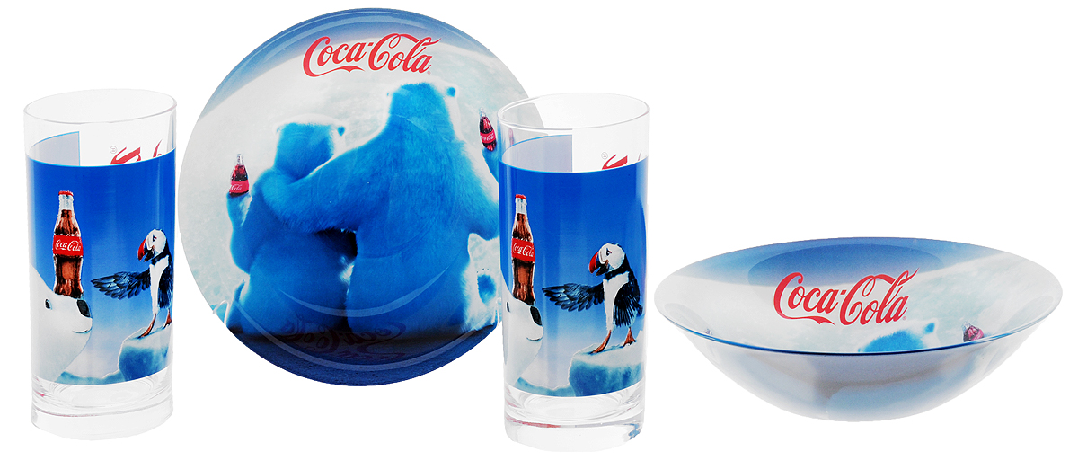 Luminarc Набор детской посуды Coca-Cola Polar Bear 4 предмета11682Набор Luminarc Coca-Cola Polar Bear состоит из 2 стаканов и 2 глубоких тарелок, изготовленных из ударопрочного стекла. Предметы набора оформлены изображением белых медведей с бутылками Coca-Cola. Такой набор привлечет внимание вашего ребенка и не позволит ему скучать. Яркий дизайн посуды превратит прием пищи ребенка в увлекательное занятие.Объем стакана: 270 мл.Диаметр стакана по верхнему краю: 6 см.Высота стакана: 13,5 см.Диаметр тарелки: 16,3 см.Высота тарелки: 4,5 см.